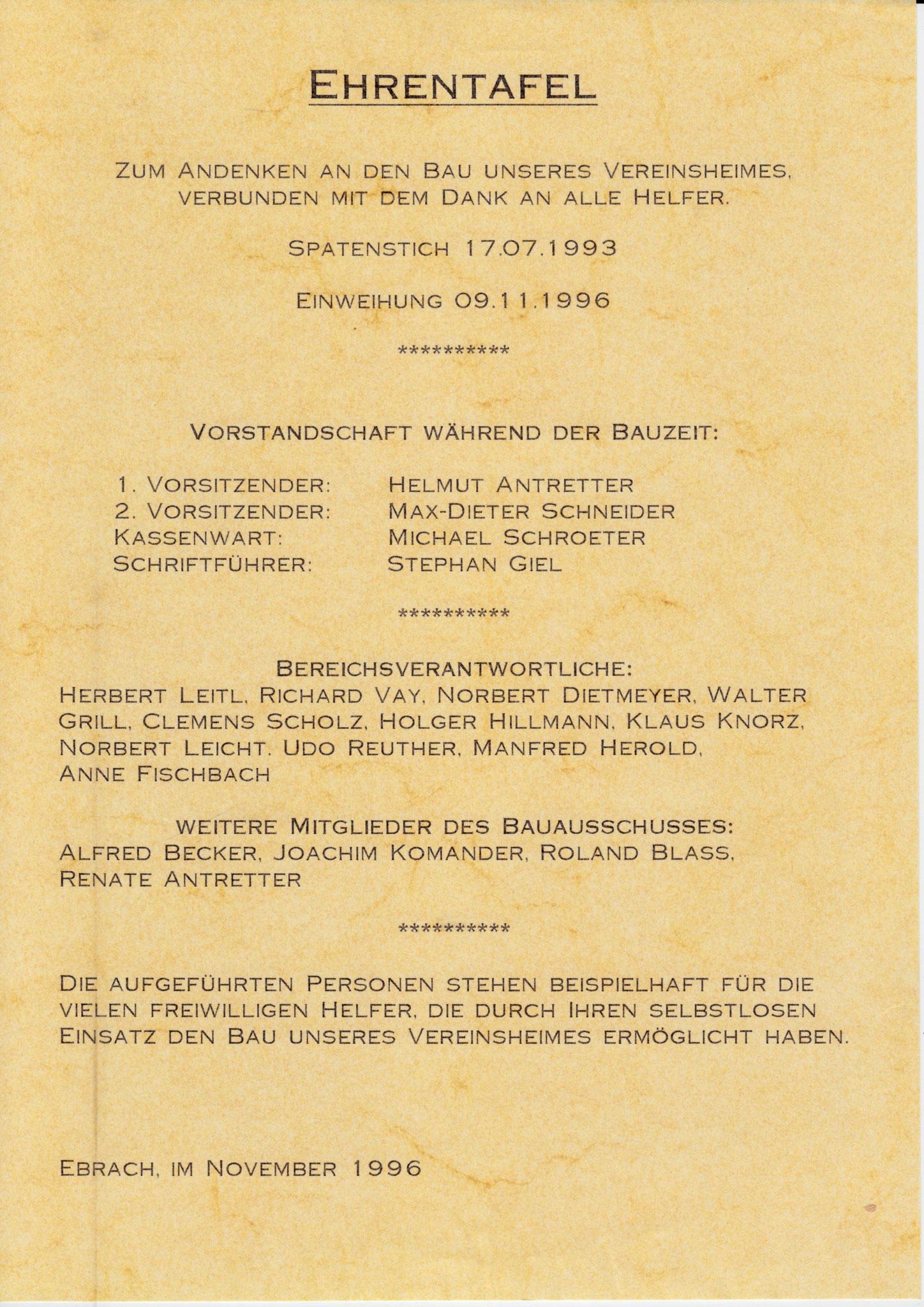 Wer war am Bau des Vereinsheims von 1993-96 beteiligt?