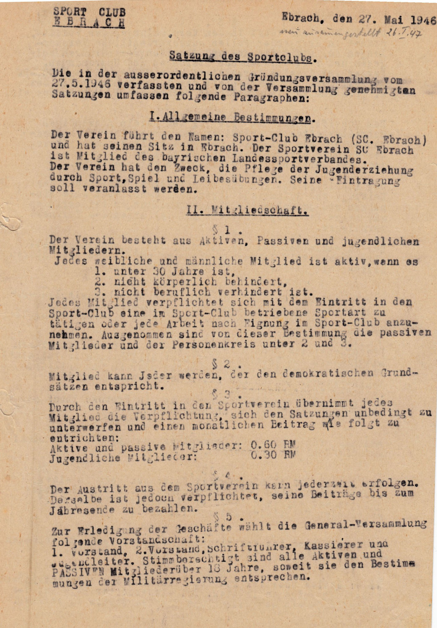 Wie sah unsere Satzung 1946 aus?