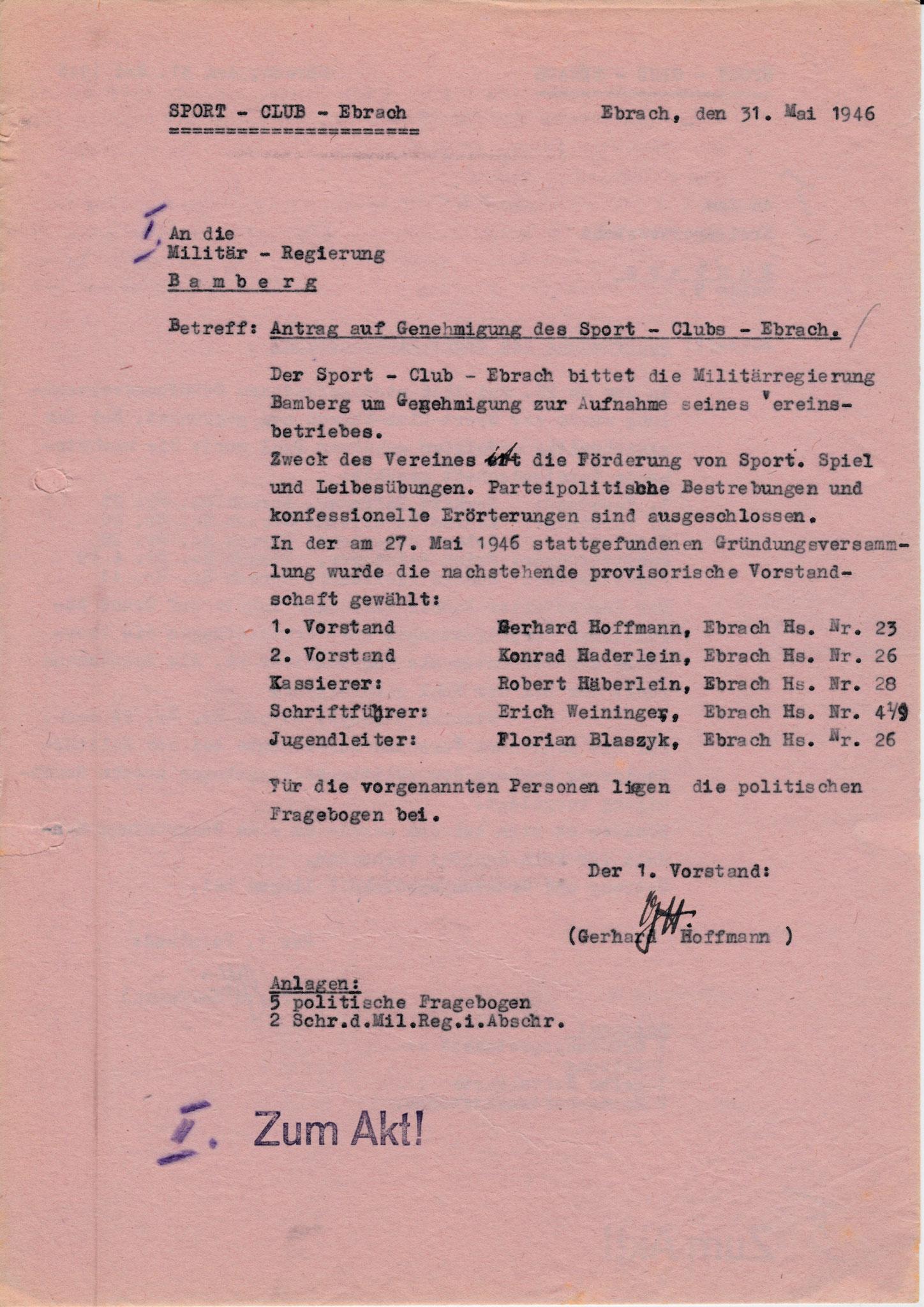 Wie konnten wir uns als Sportclub 1946 anmelden?