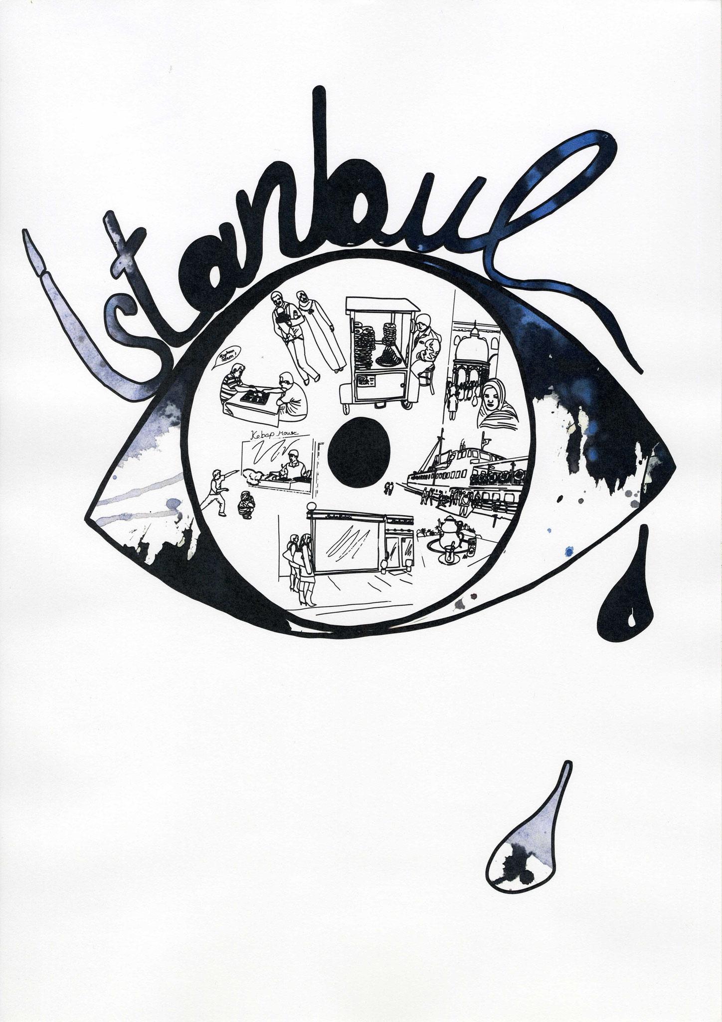 Istanbul - Illustration für Orhan Pamuks Buch ,,Das schwarze Buch``