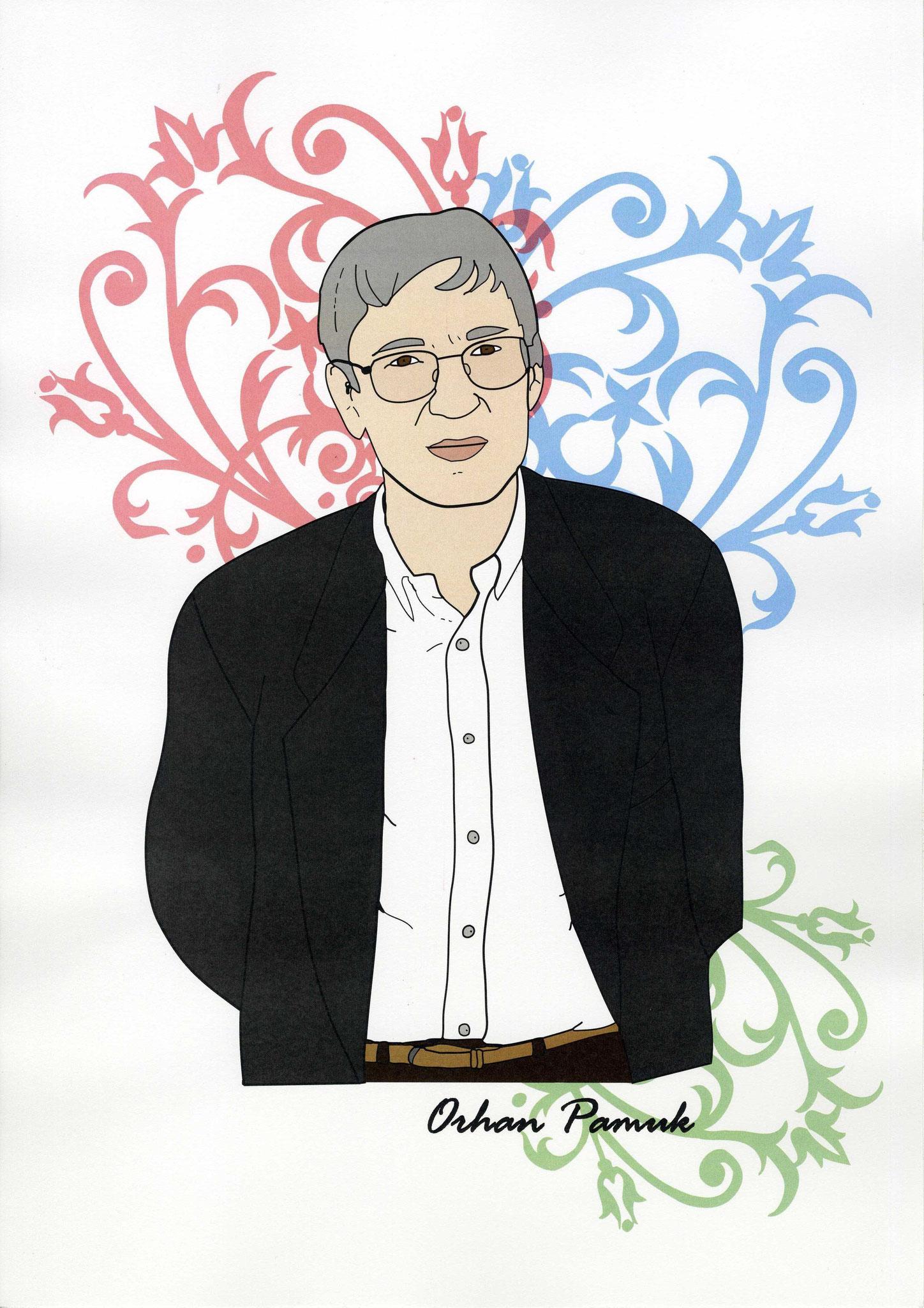 Orhan Pamuk Portrait - Illustration für Orhan Pamuks Buch ,,Das schwarze Buch``