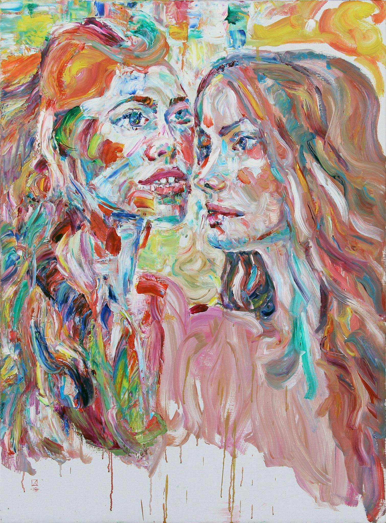 Twee Jonge Meusjes. Double Portrait. 2019. Oil on canvas. 95 х 70