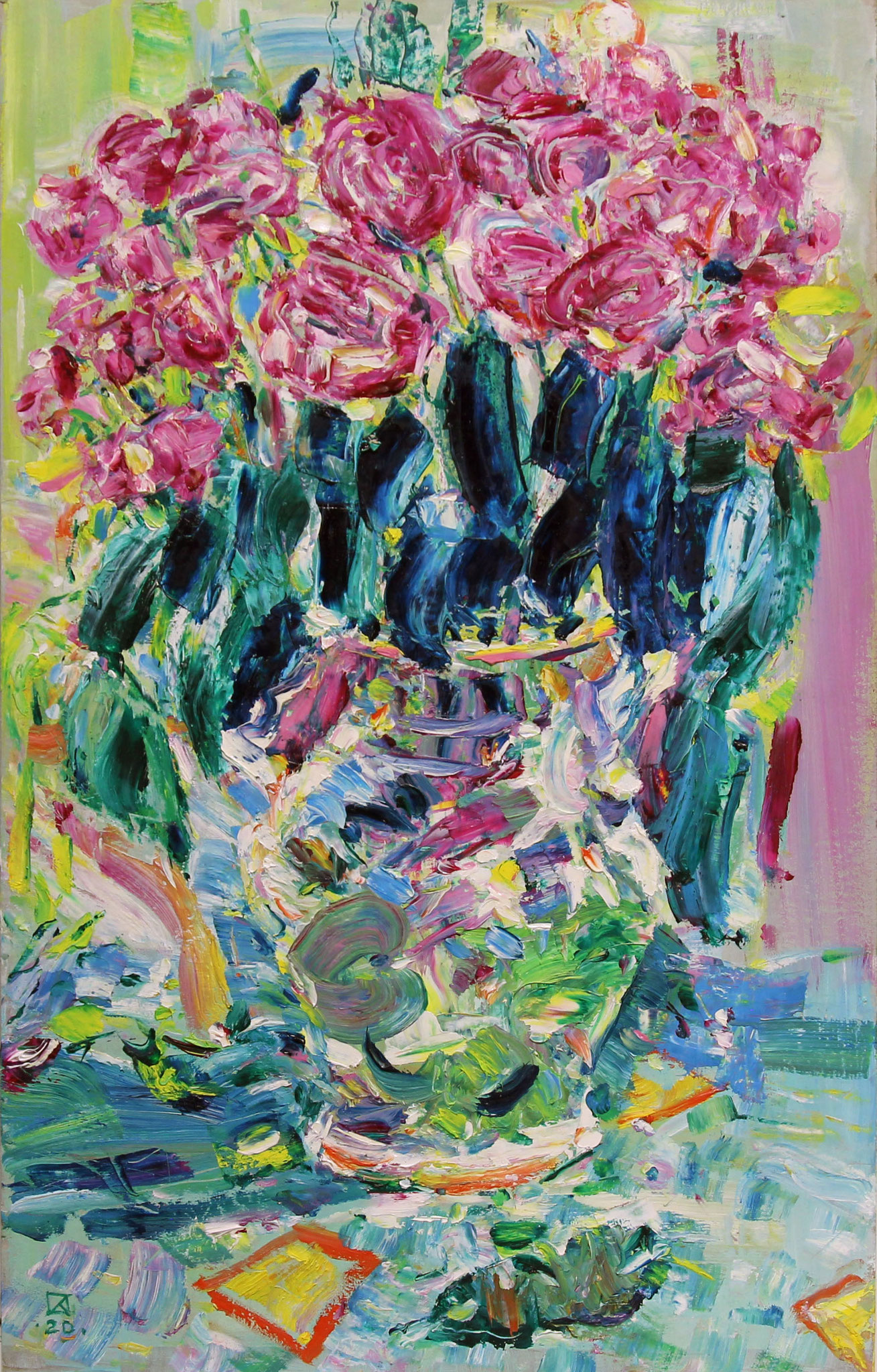 Roses in a vase. 2020. Oil on cardboard. 66 x 42