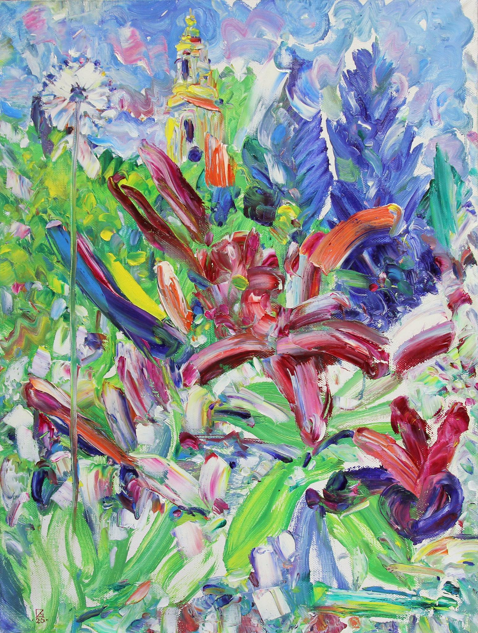 Novospassky Garden. 2020. Oil on canvas. 80 x 60