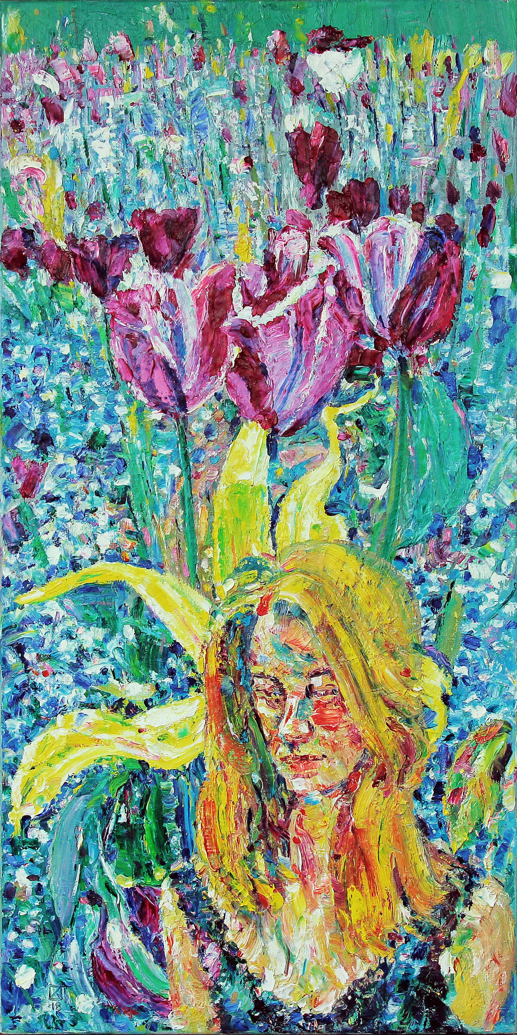 Marylou In a Wonderful Garden. 2018. Oil on canvas. 100 x 50