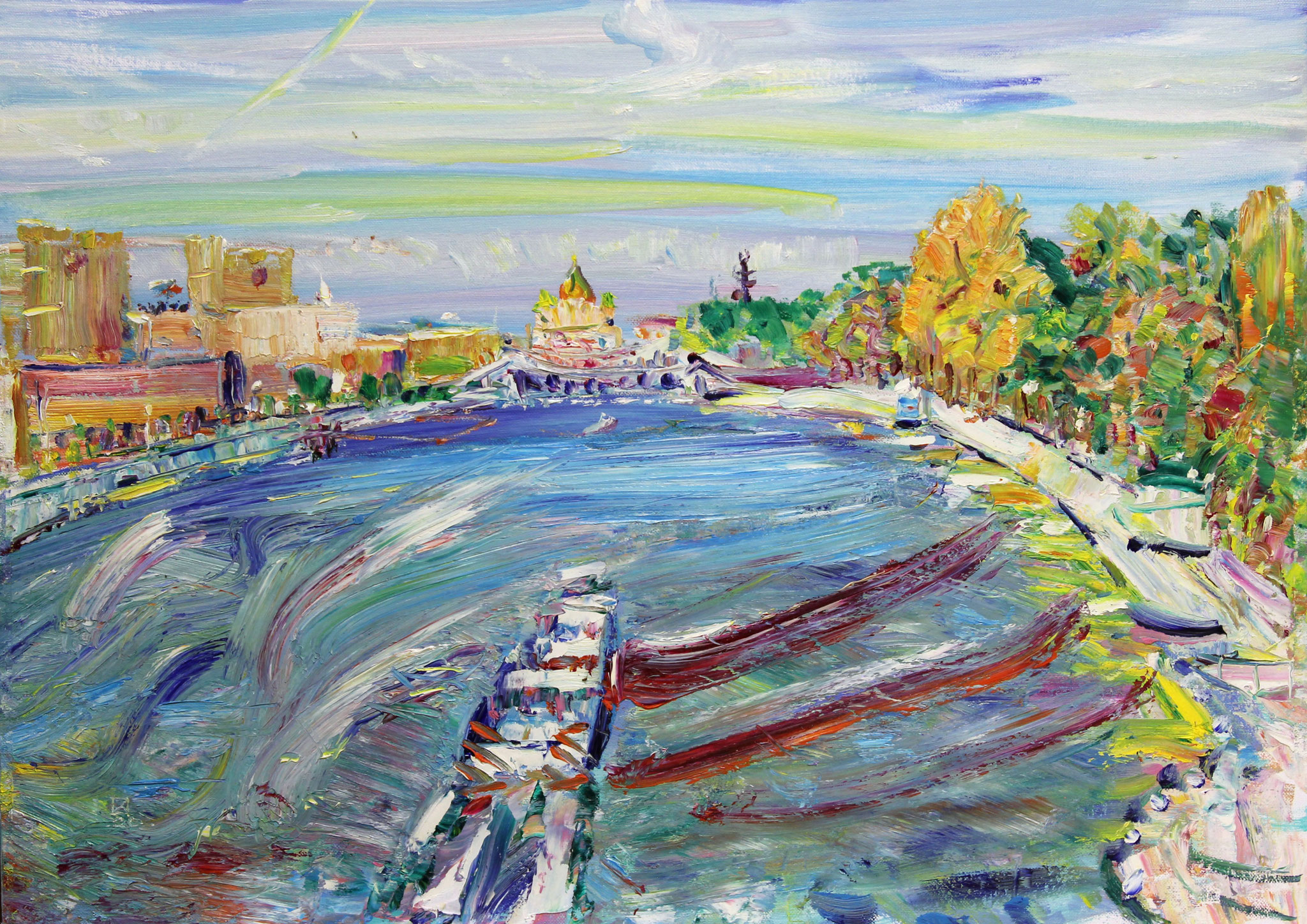 Moscow River. 2020. Oil on cardboard. 50 x 70