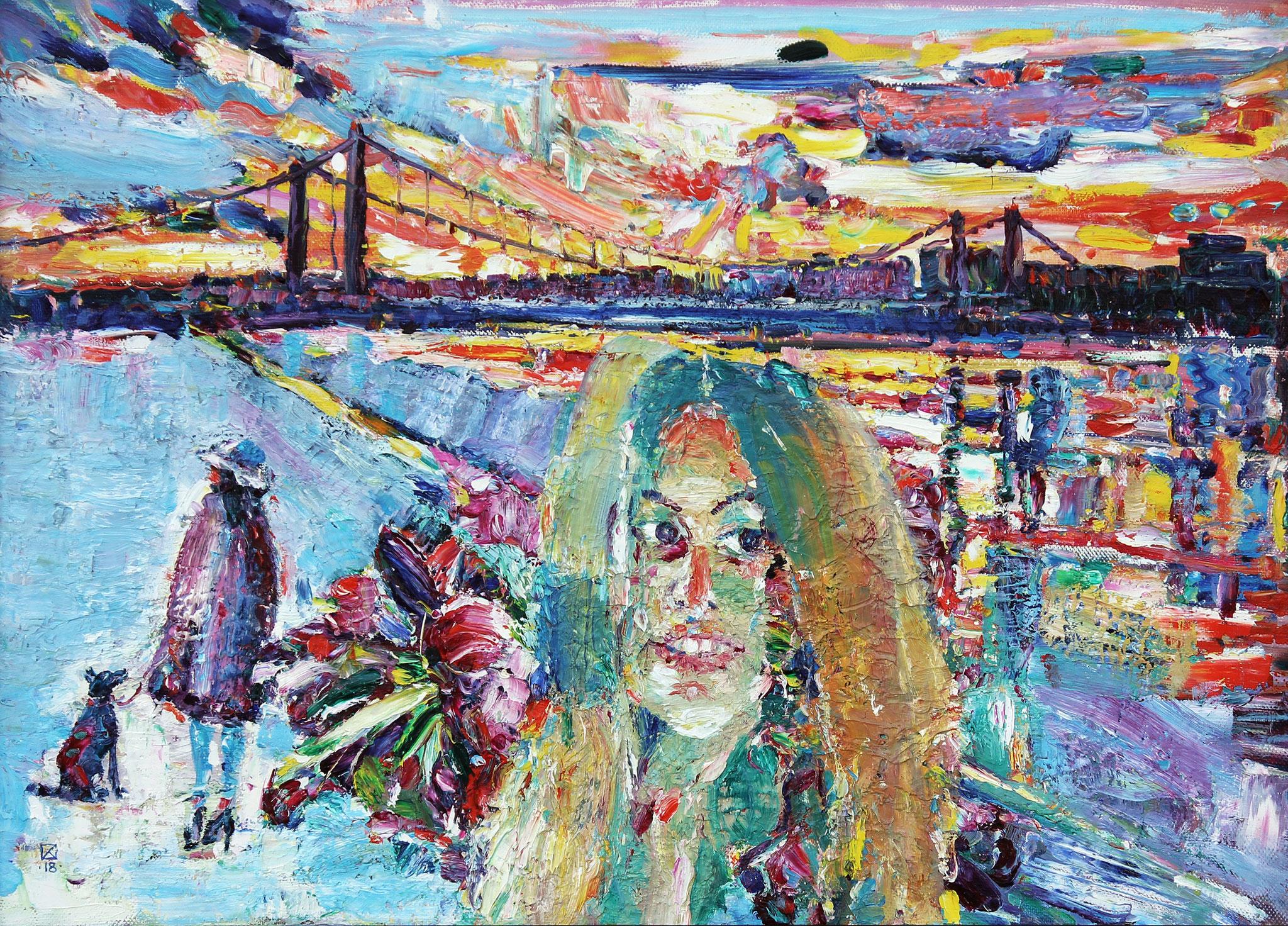 Crimean Bridge. Evening. 2018. Oil on canvas. 60 х 85,5