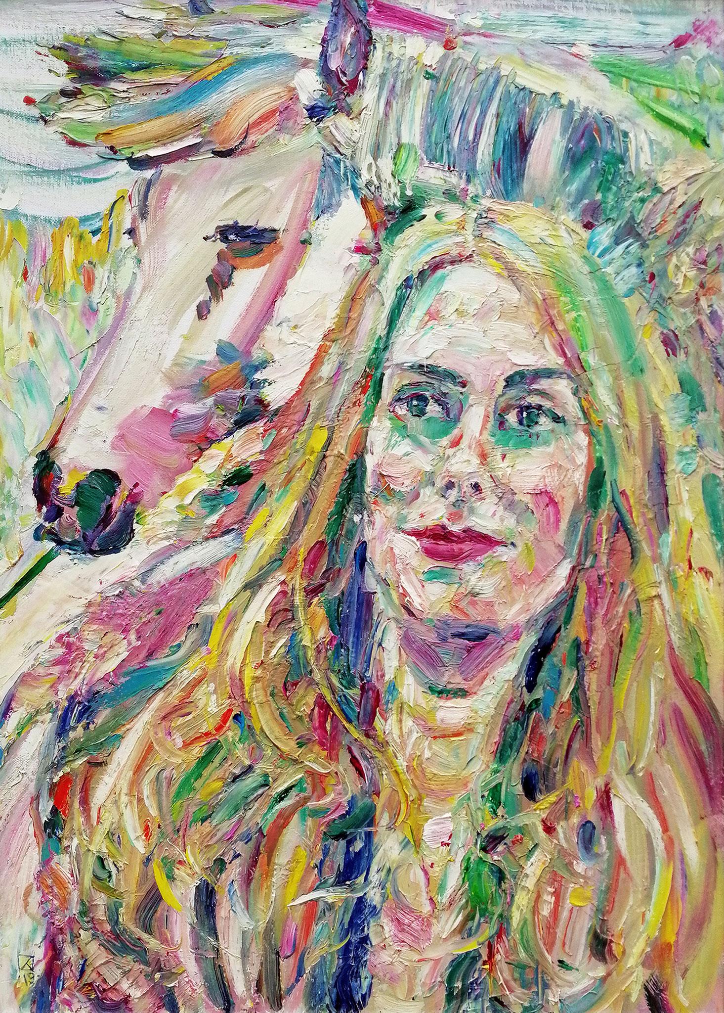 Tenderness. Portrait of Christina. 2019. Oil on canvas, cardboard. 70 x 50