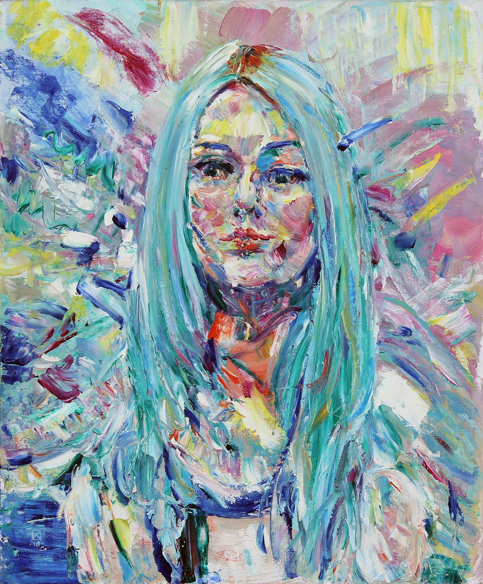 Pencil Girl. 2018. Oil on canvas, cardboard. 60 х 50
