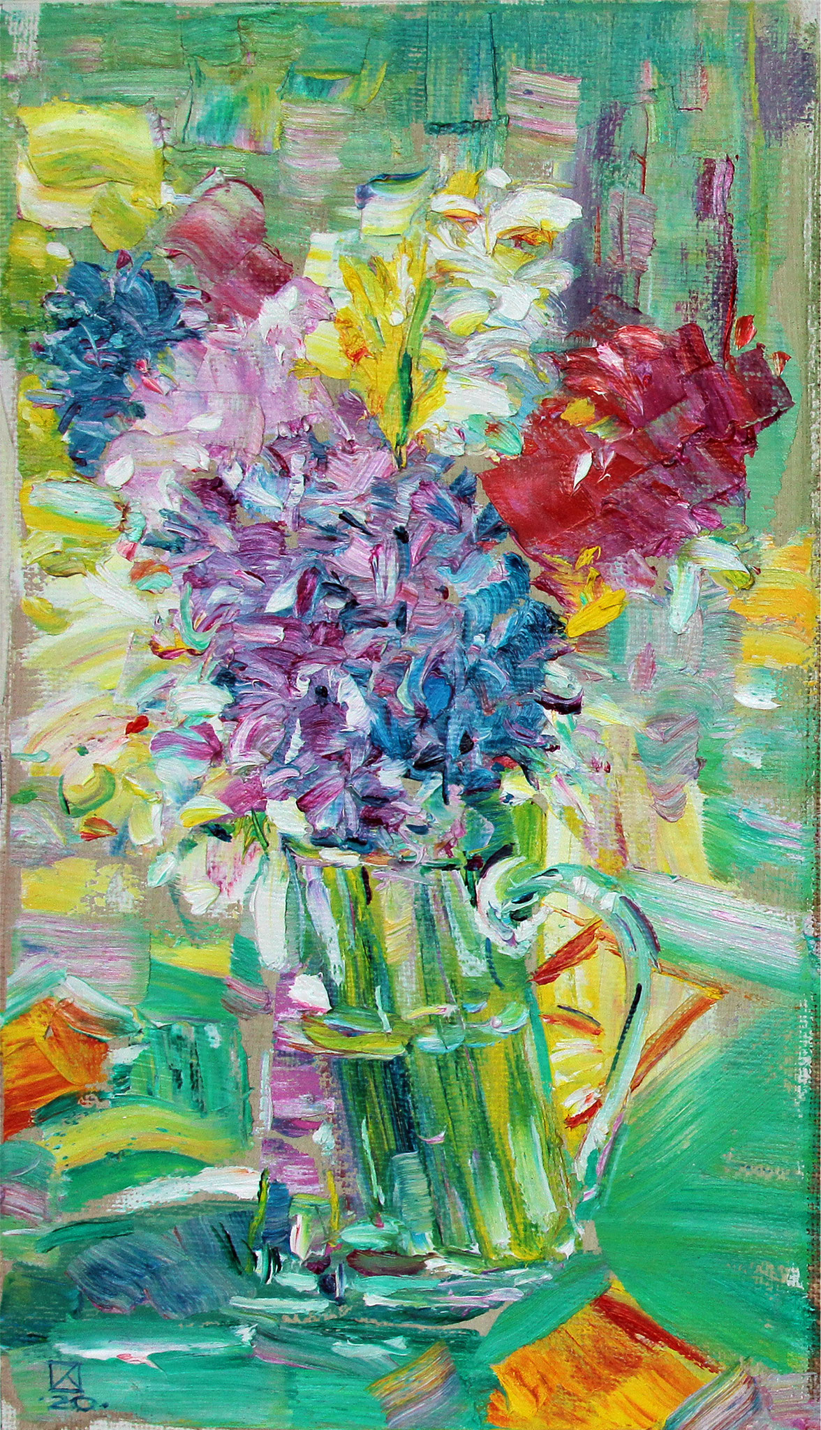 One bouquet. Triptych right. 2020.  Oil on canvas. 47 x 27