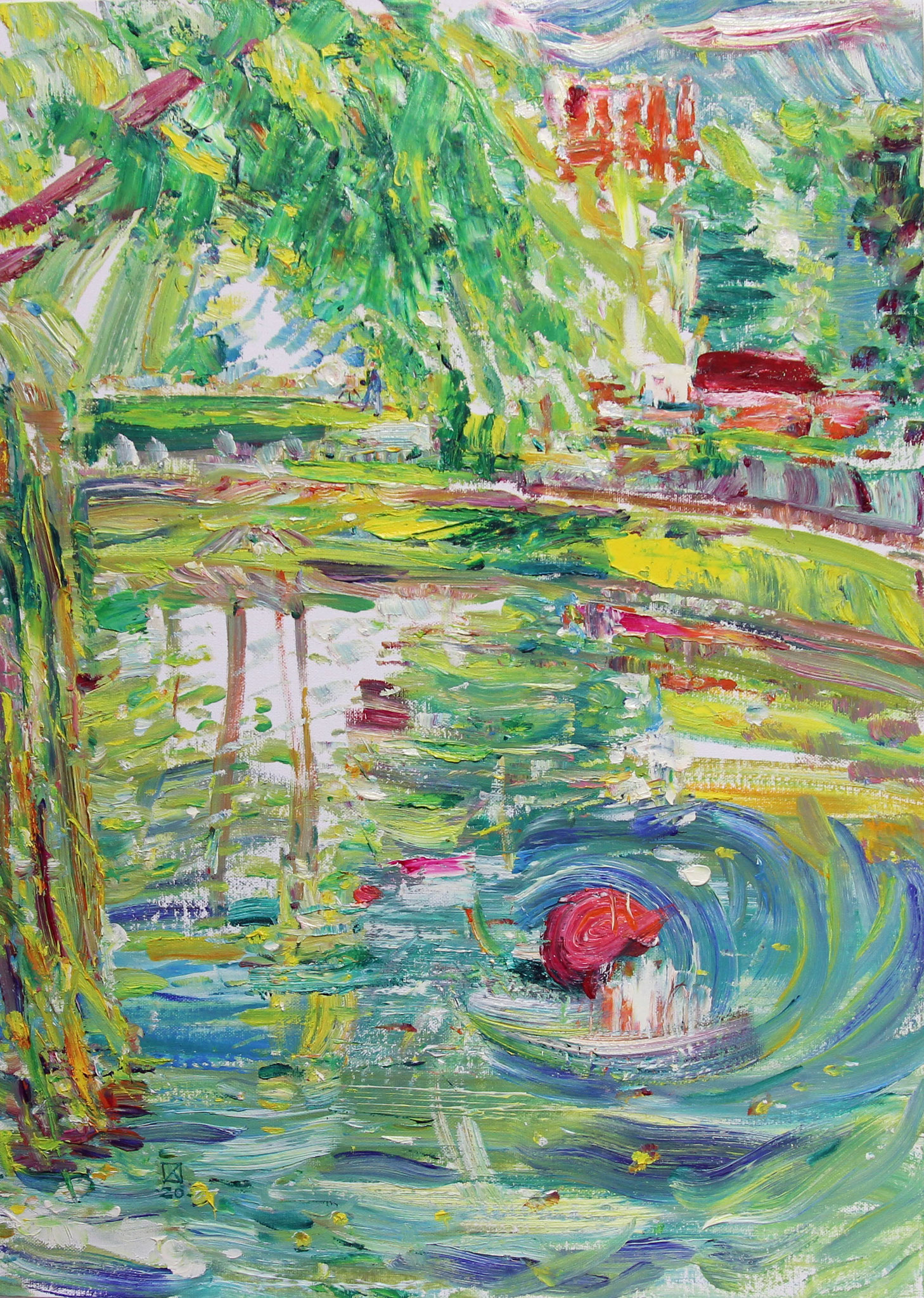 Pond. Novodevichy Monastery. 2020. Oil on cardboard.   70 х 50