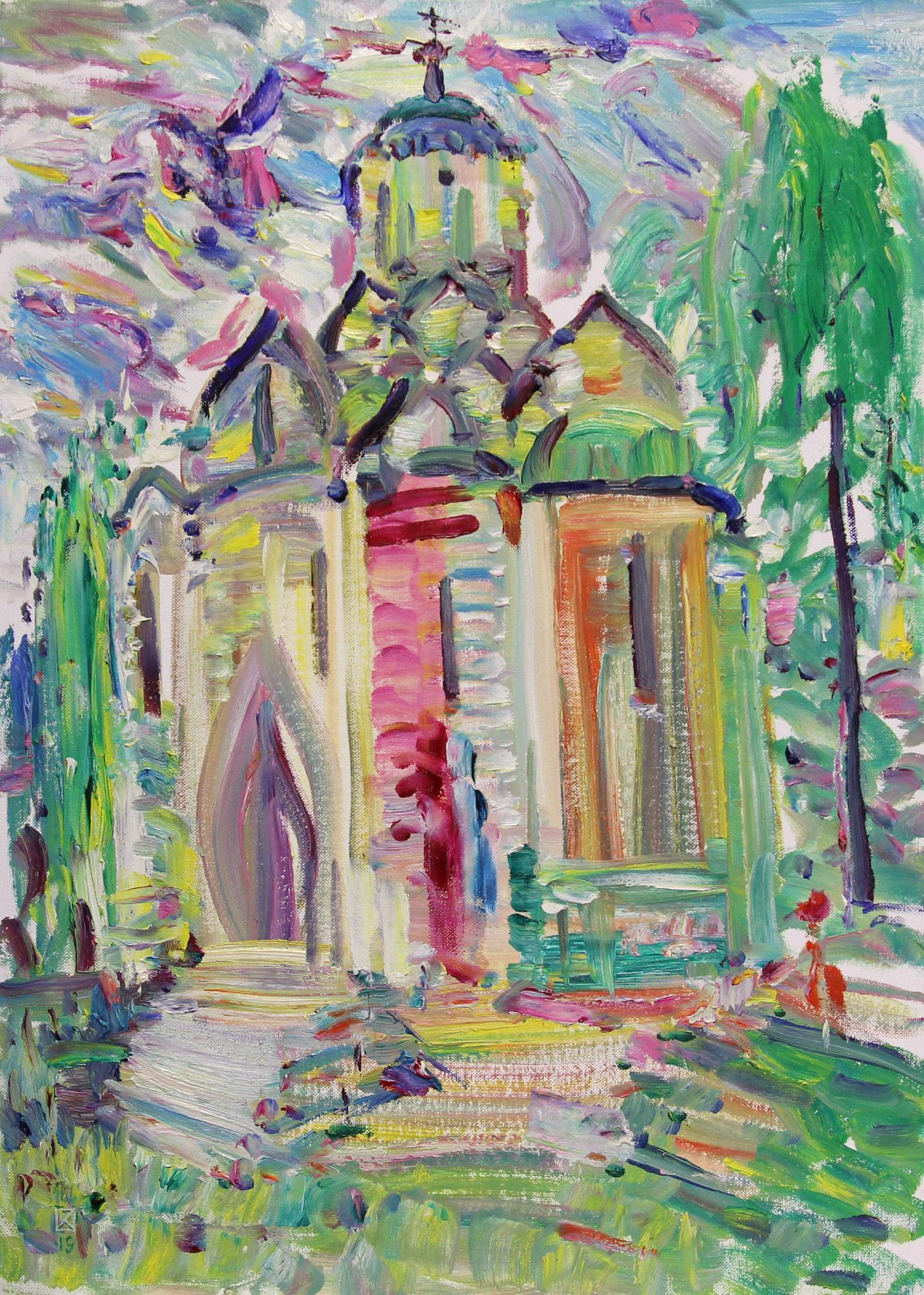 The shrine of Andrey Rublev. 2019.  Oil on cardboard.   70 х 50
