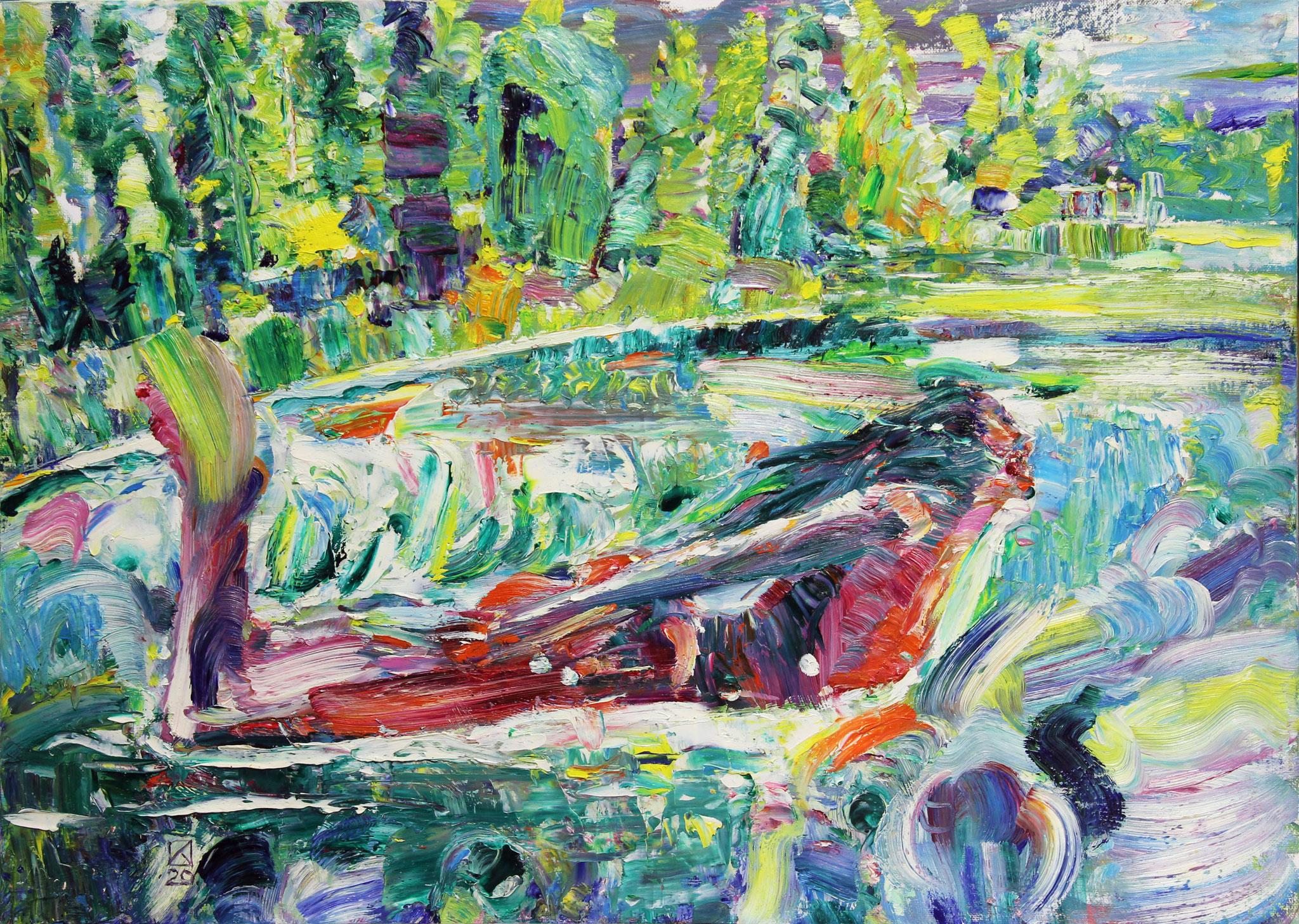 The mermaid in the neskuchny garden. 2020. Oil on cardboard. 50 x 70