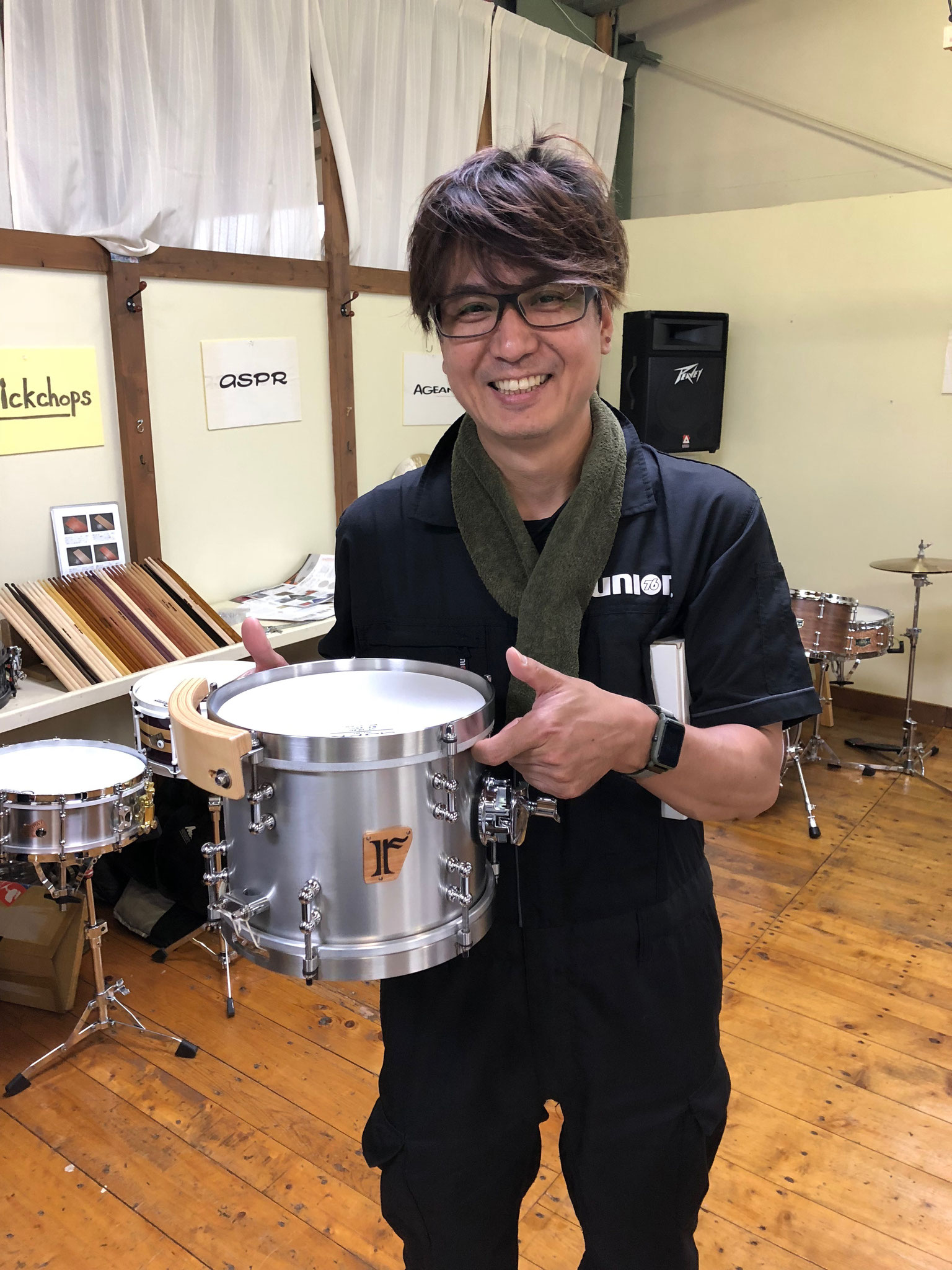 "沼 直也  Custom. Aluminum / 9""x7"" SD , Maple 6ply /8""x5.5"" TT , Maple 8ply / 10""x6.5"" FT"
