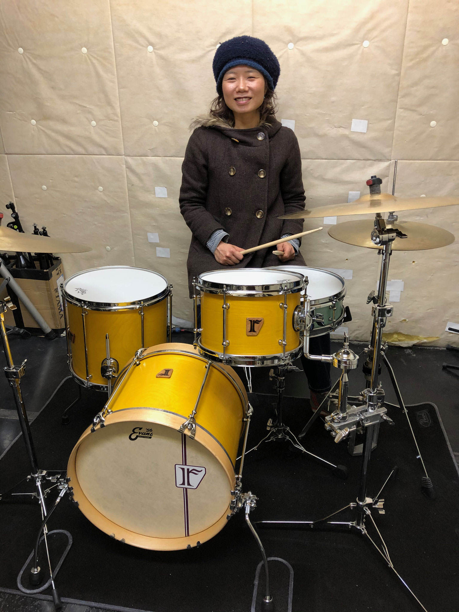 "高橋結子  Custom. Birch 8ply / 16""x12"" BD , 10""x7"" TT , 13""x12"" FT , Maple 10ply / 15""x7"" SD"
