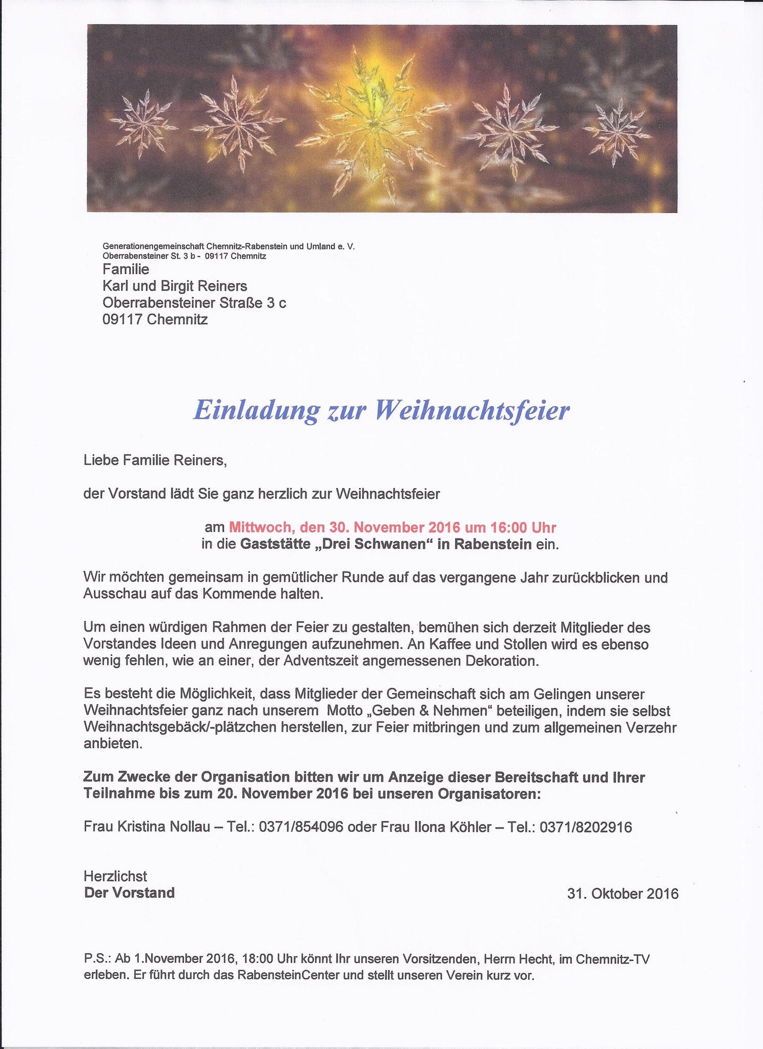 30.11.2016 weihnachtsfeier - generationengemeinschaft-chemnitz, Einladung