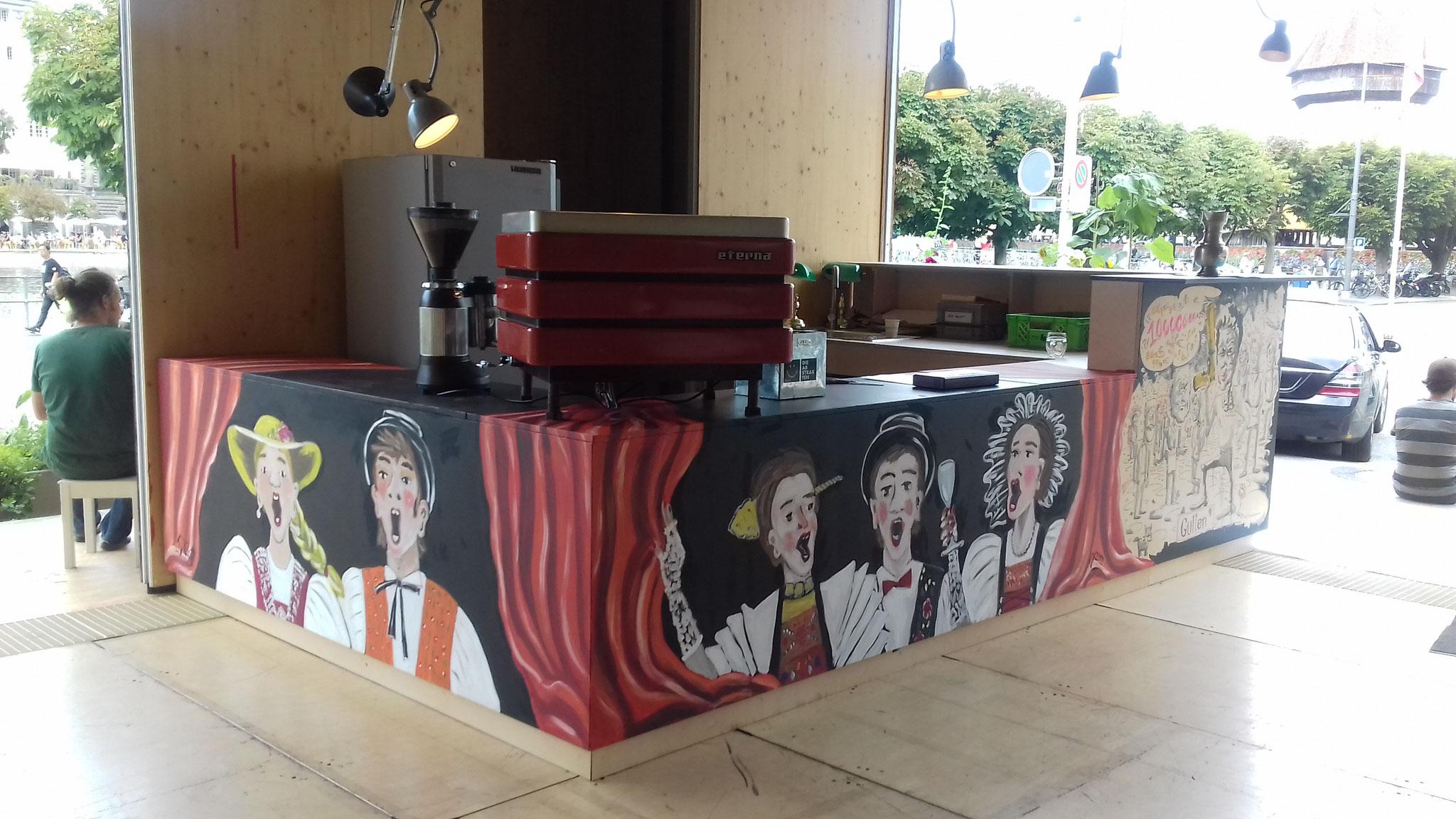 Vor Ort gemalt, Café Bar Güllen beim Luzerner Theater, 2019