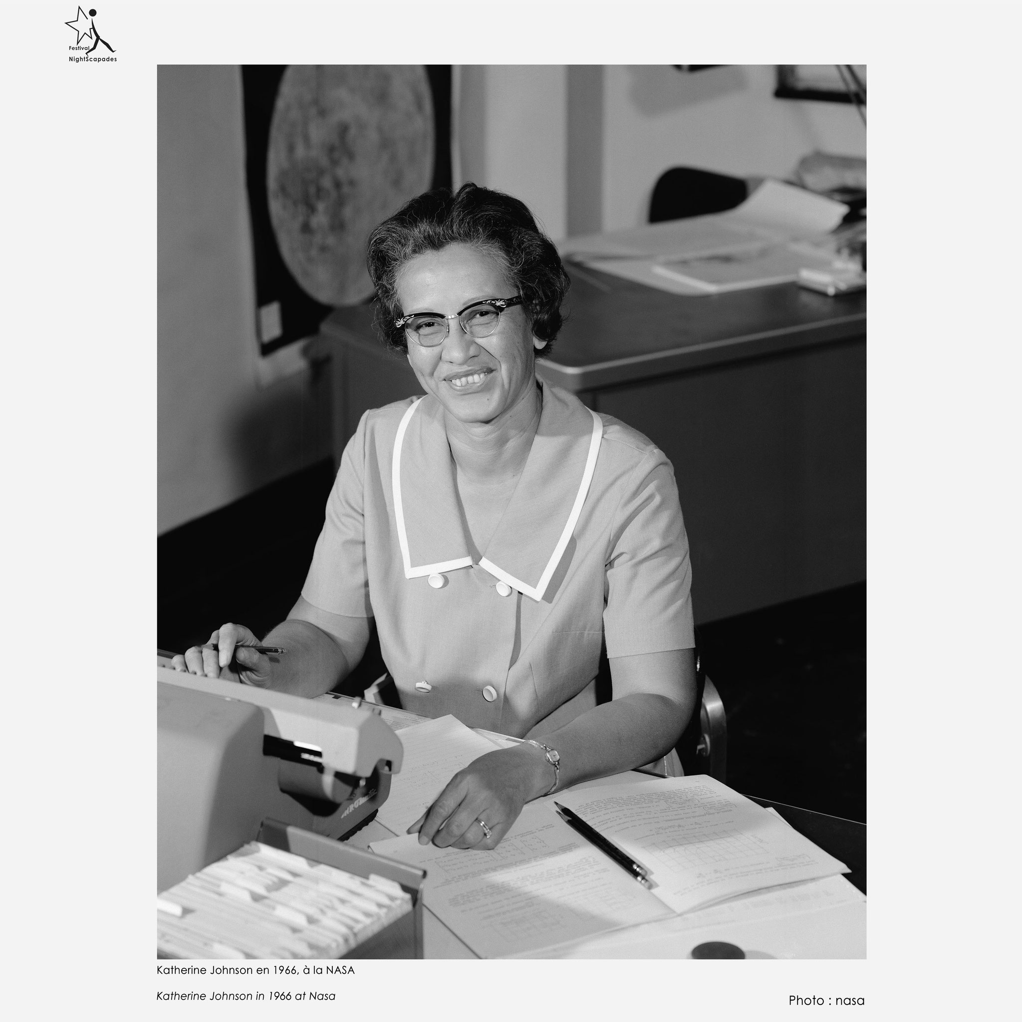Katherine Johnson en 1966, à la NASA