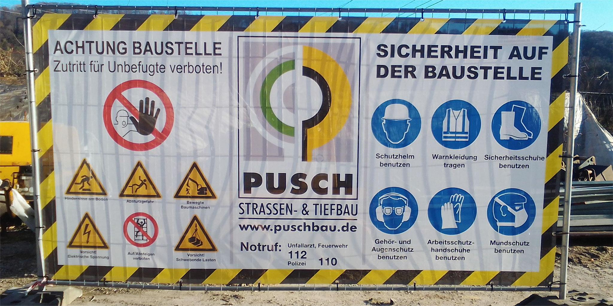 Baustellenbanner mit Warnzeichen & Logoeindruck
