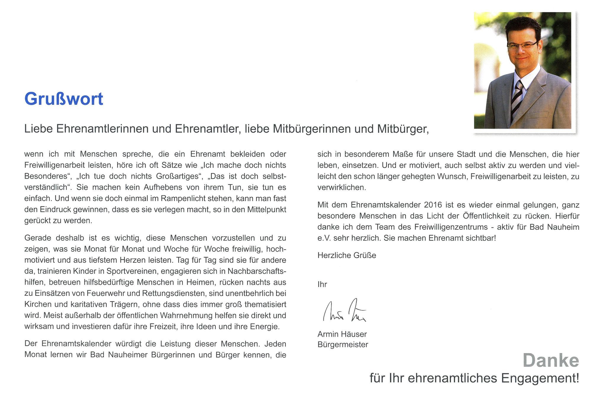 Vorwort Bürgermeister Bad Nauheim - Ehrenamtskalender 2016 des Freiwilligenzentrums Bad Nauheim