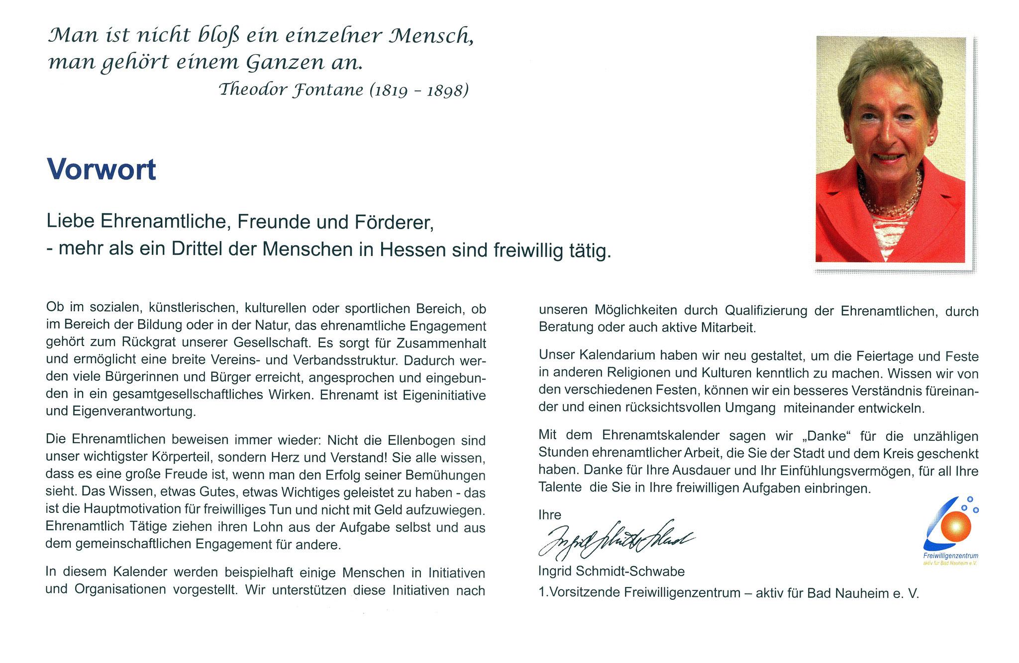 Vorwort Vorsitzende des FWZ - Ehrenamtskalender 2016 des Freiwilligenzentrums Bad Nauheim