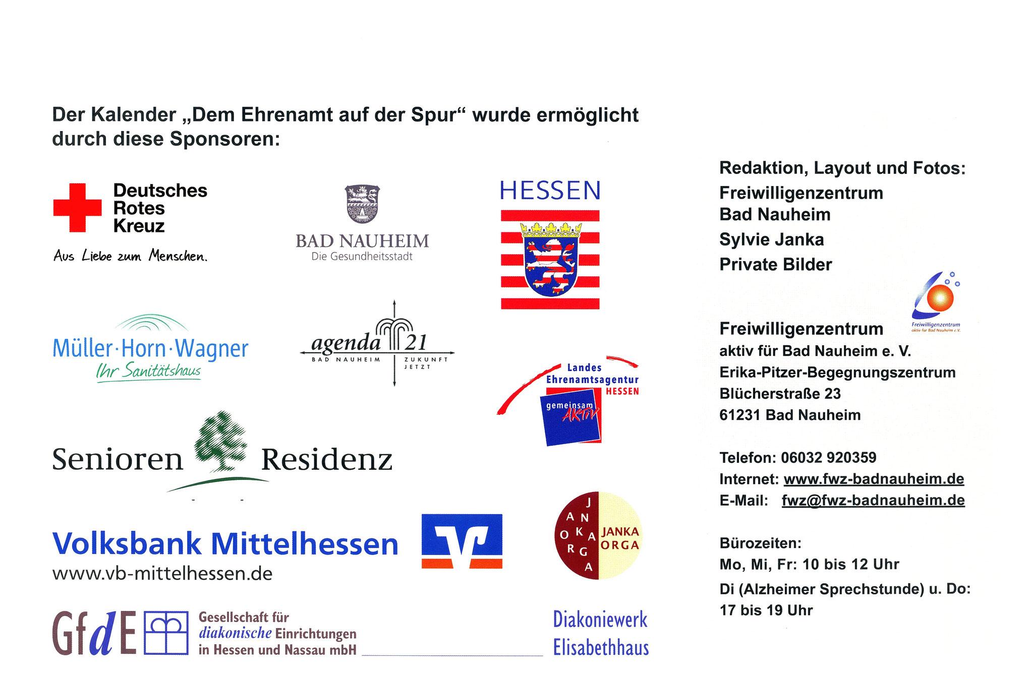 Sponsoren - Ehrenamtskalender 2016 des Freiwilligenzentrums Bad Nauheim
