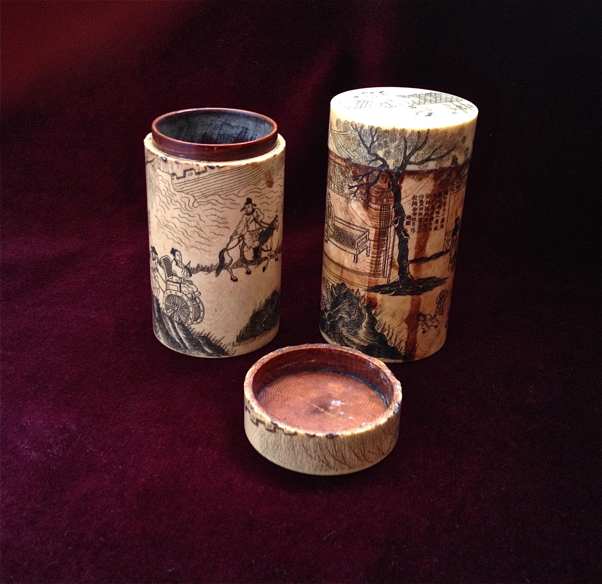 Pair of ivory opium boxes (–> Boîtes)