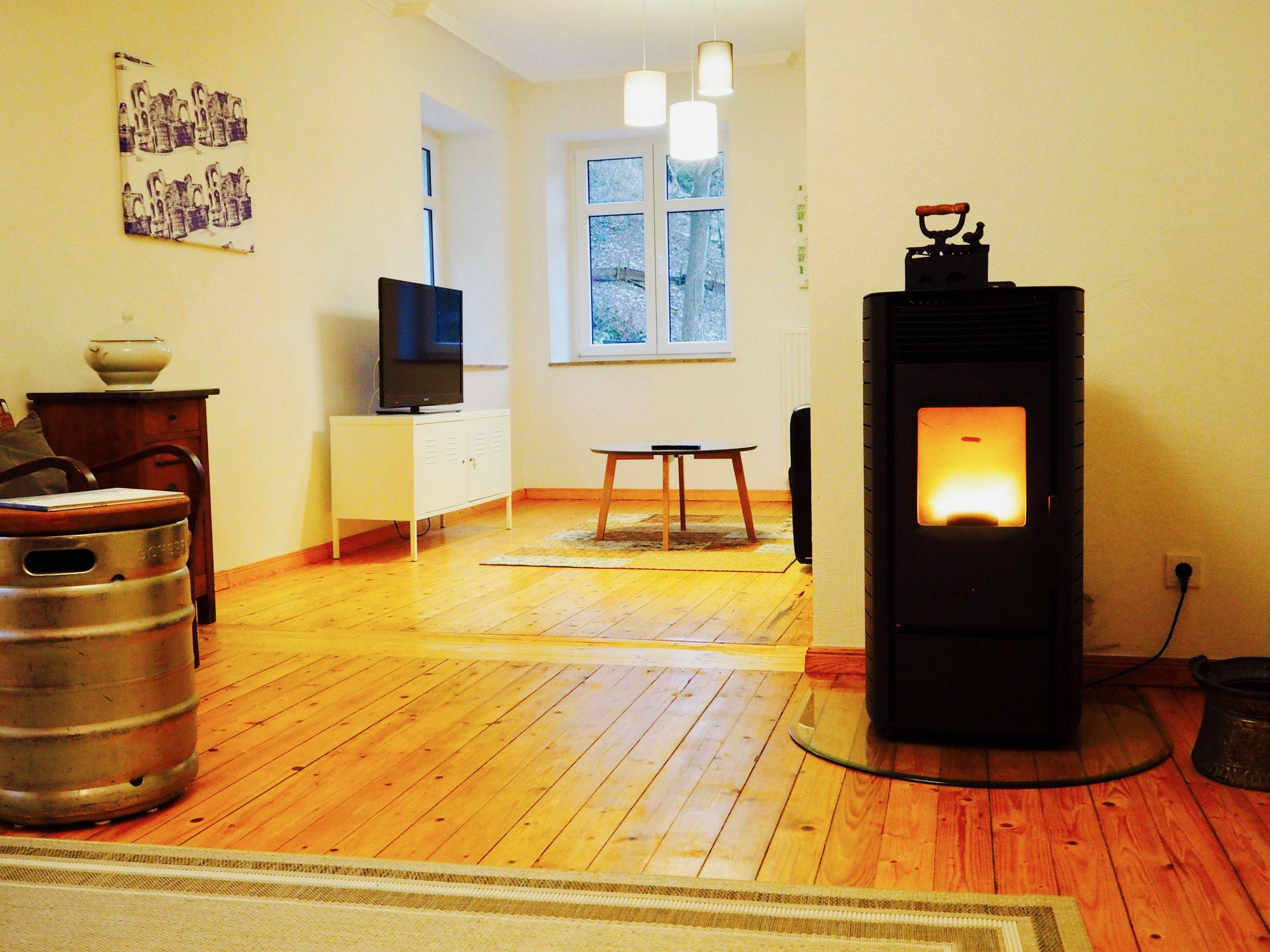 Wohnzimmer mit Pelettofen