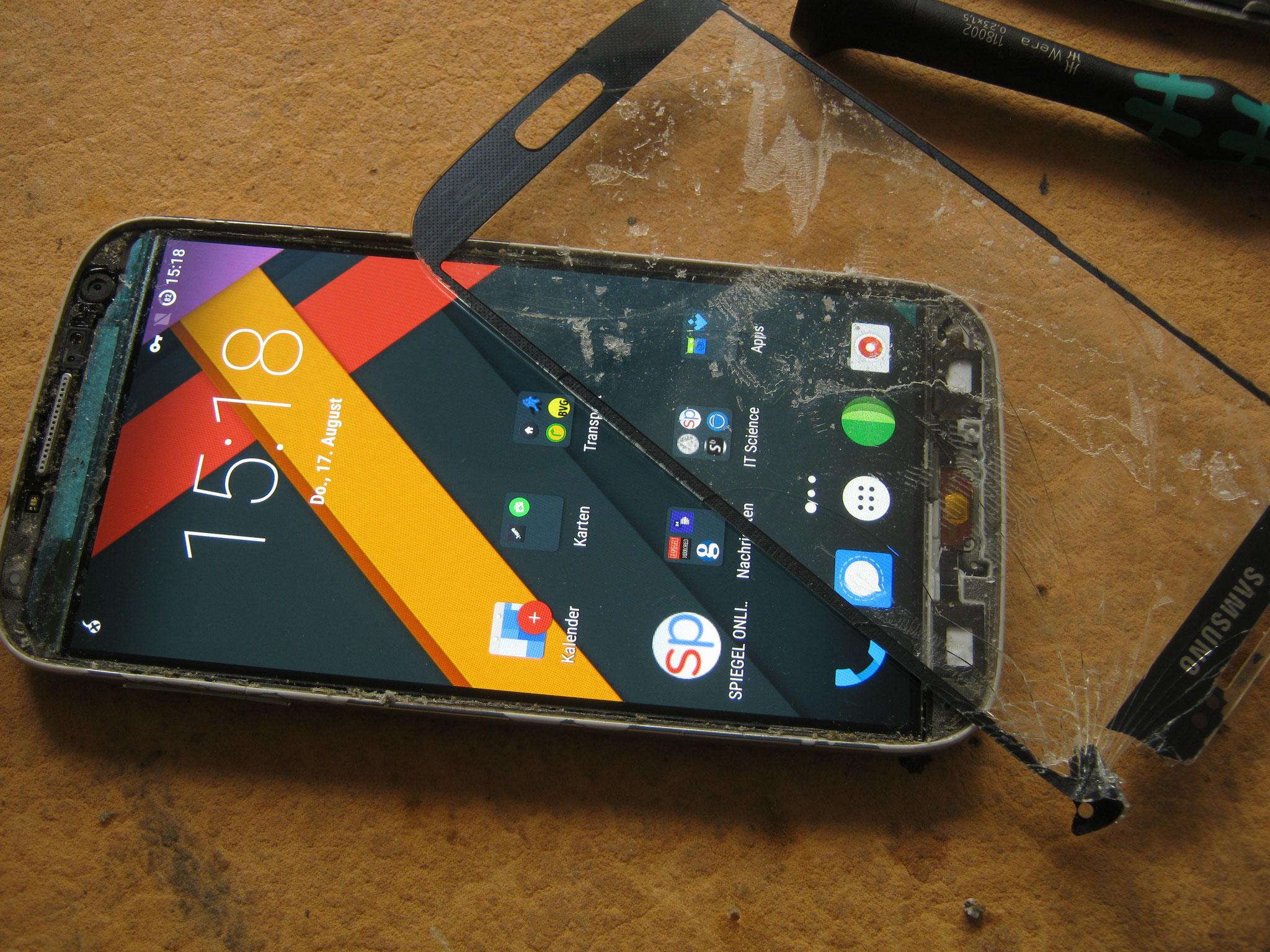 Samsung s4 mit getrenntem Glas
