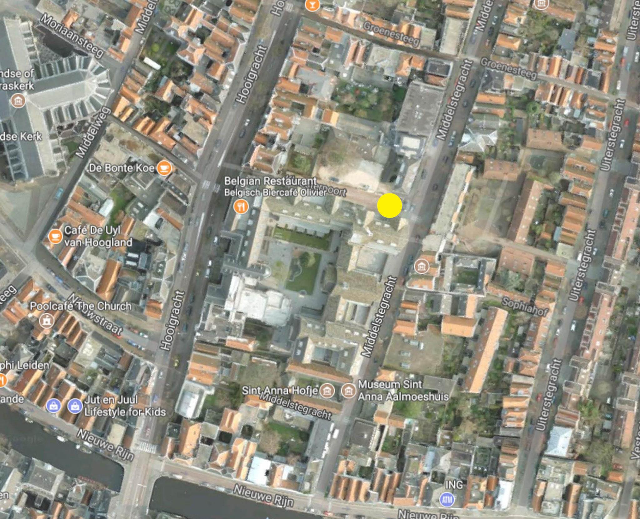 Luchtfoto omgeving, op gele stip moet het pand van GewoonWonen komen