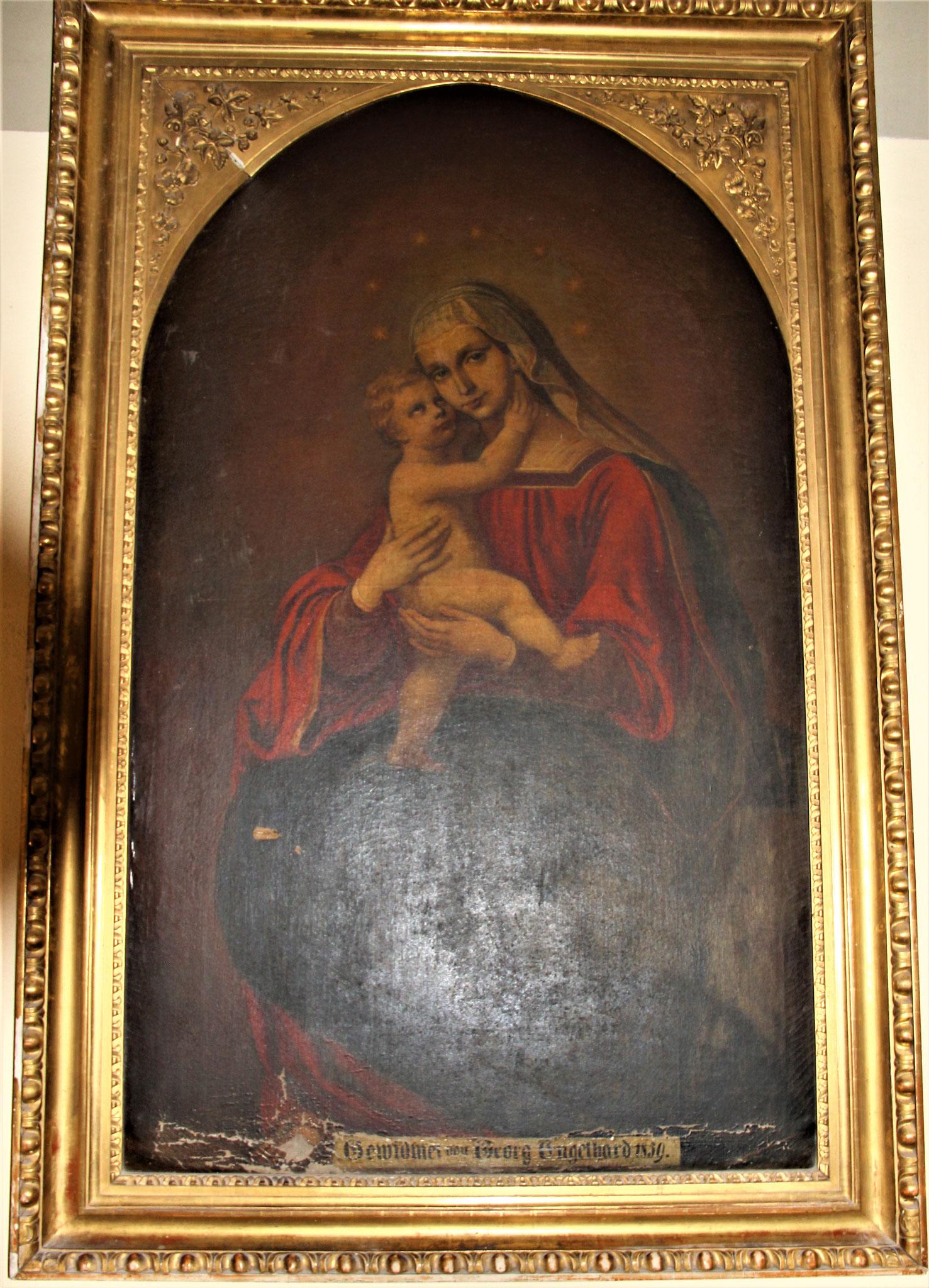 Ölgemälde - Muttergottes mit Kind                                 (Gewidmet von Georg Engelhard 1859)