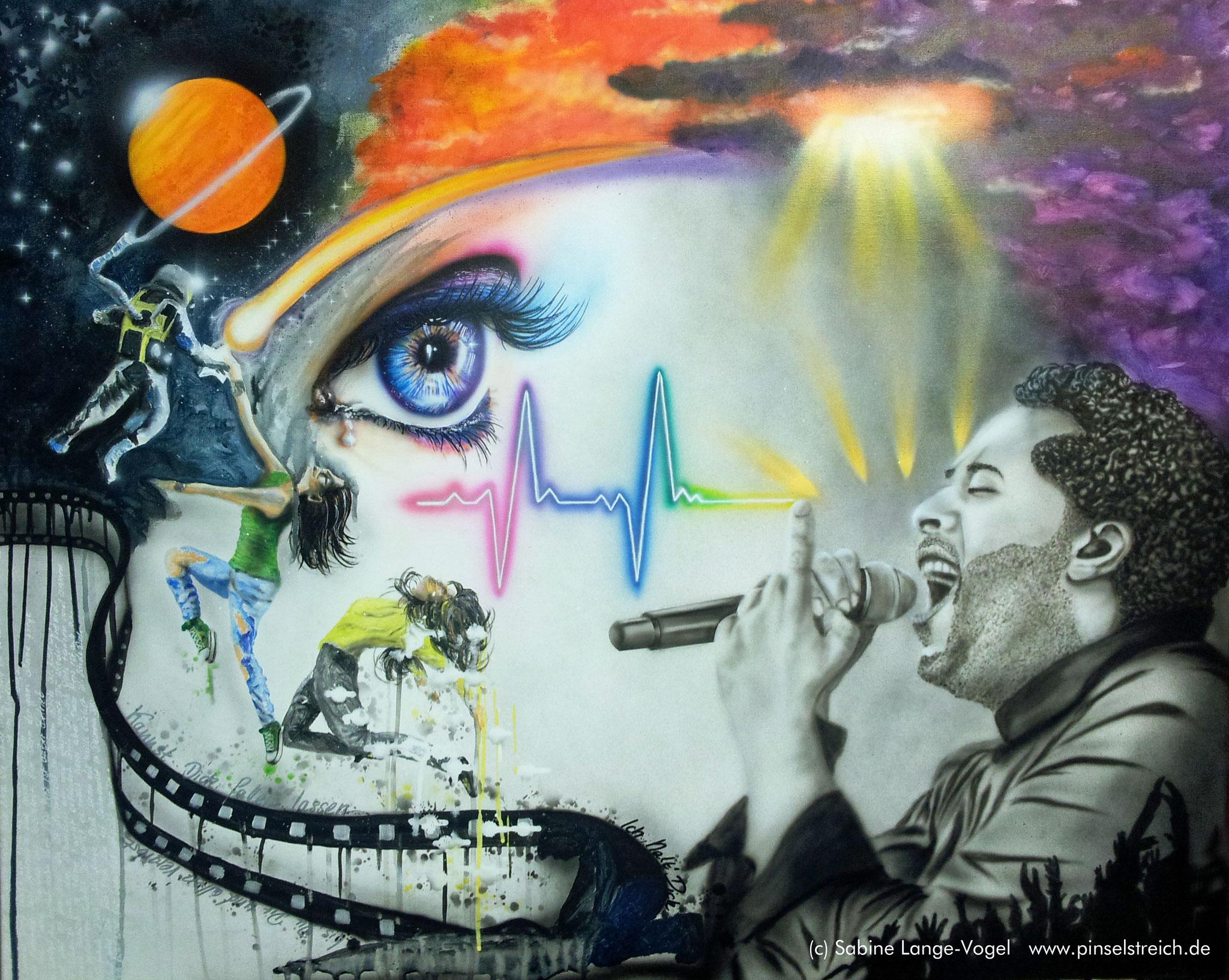 """Farbentanz"" Acryl, Airbrush auf Leinwand 100 x 80 cm"