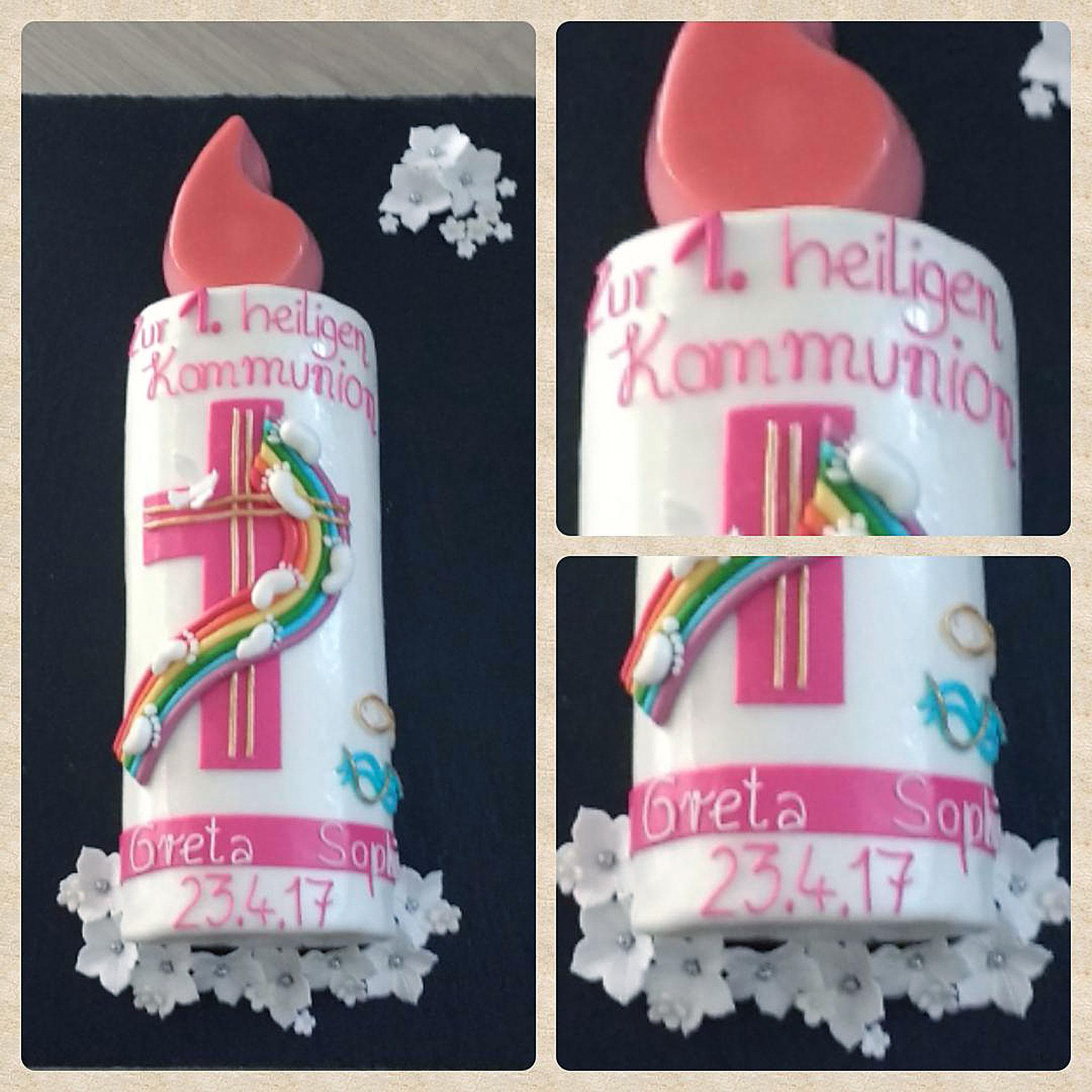Kommunionstorte Kerze Regenbogen, Fußabdrücke und Kreuz