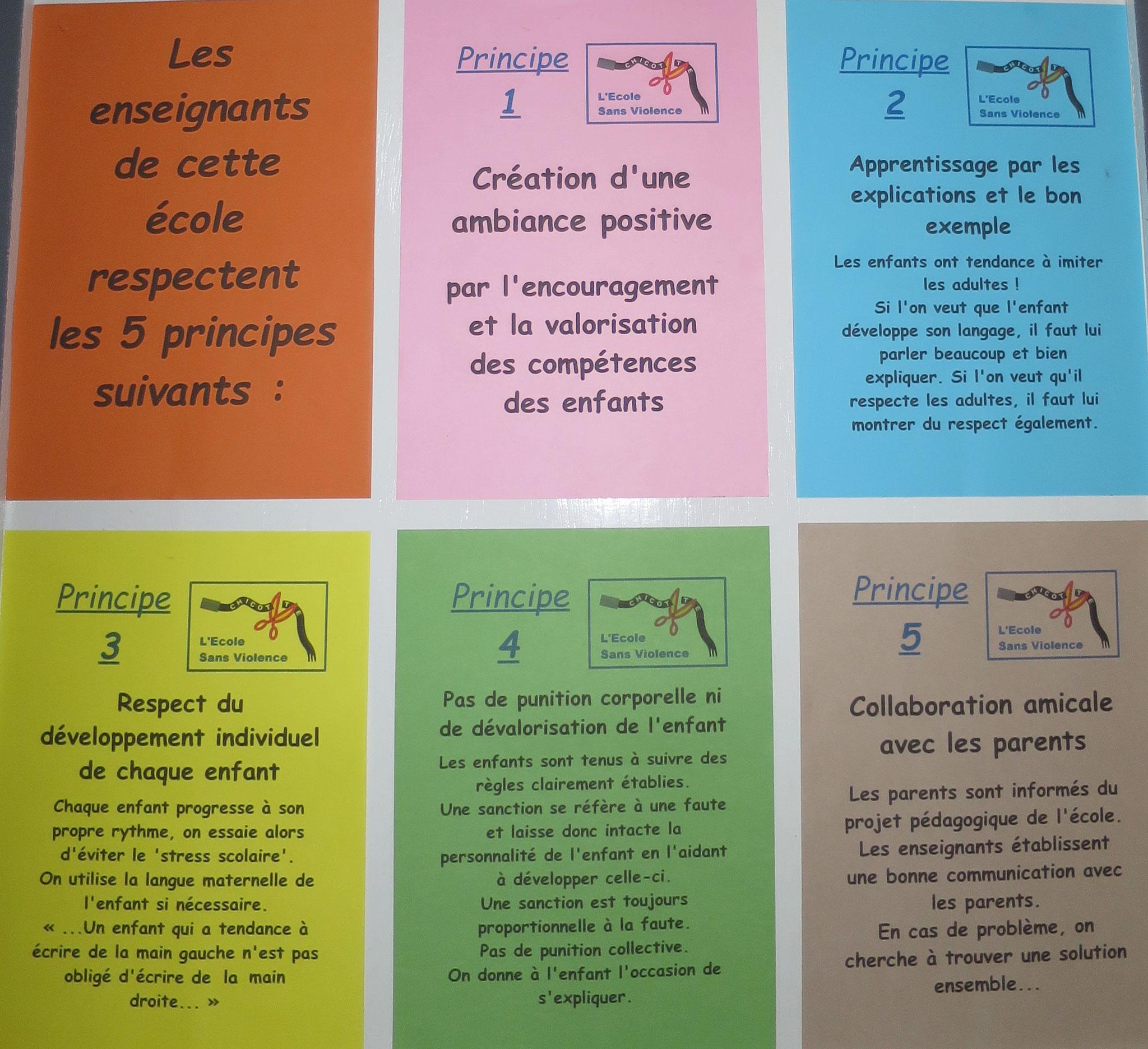 Les principes d'une éducation non-violente et d'une bonne gestion de la classe sont affichés dans nos écoles de référence