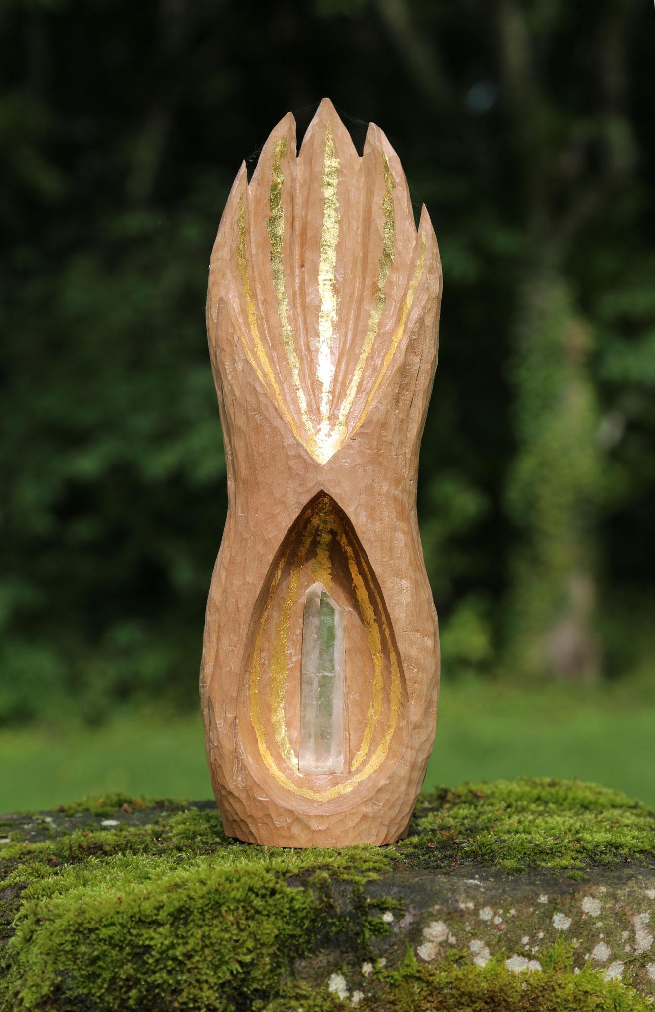 """""""Présence"""" (poirier, cristal de quartz, feuilles d'or)"""