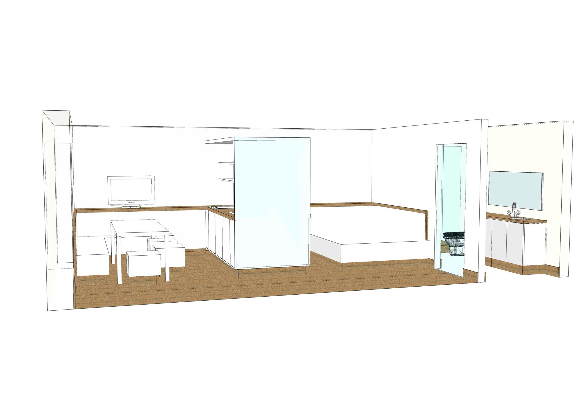wohnen und schlafen in einem raum amazing dieser schlafraum wurde komplett auf links gedreht um. Black Bedroom Furniture Sets. Home Design Ideas