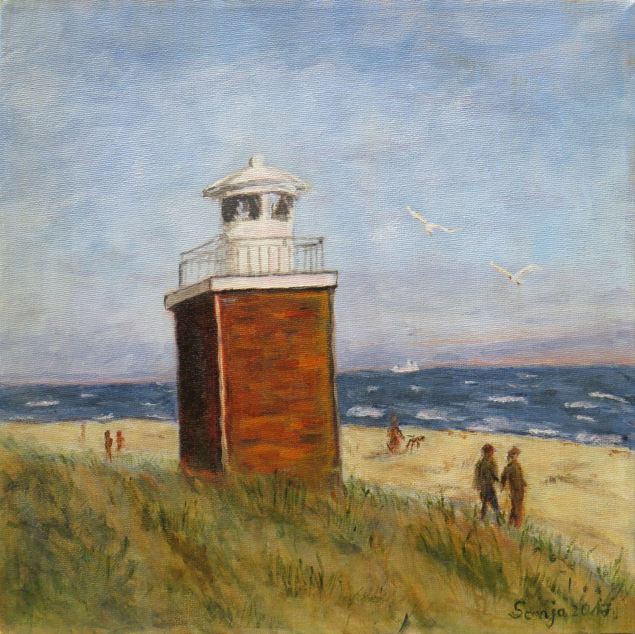 """""""Leuchtturm Wyk auf Föhr"""", Acryl auf Leinwand, 30 x 30 cm"""