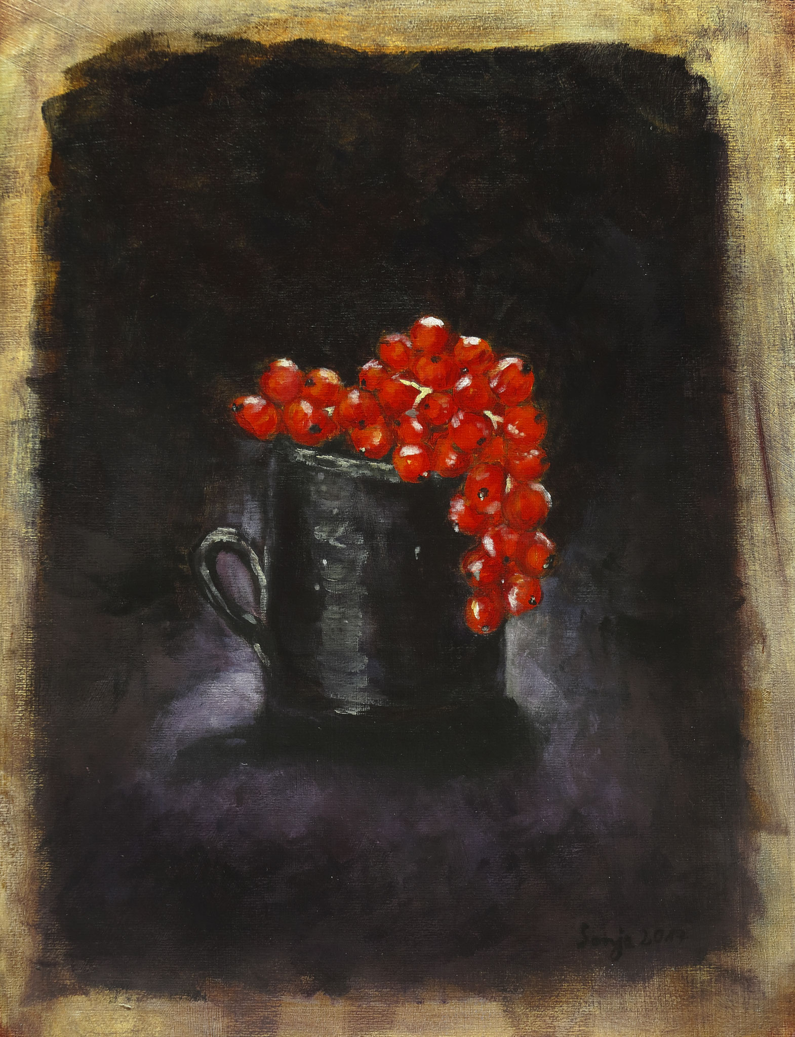 """Johannisbeeren"", Acryl auf Karton, 30 x 40 cm"