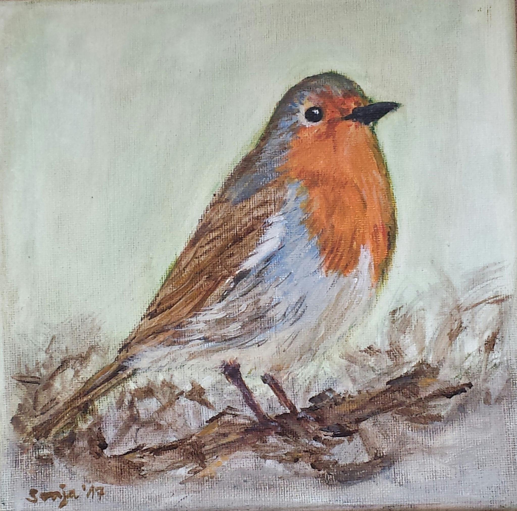 """Gelis Rotkehlchen"", Acryl auf Leinwand, 20 x 20 cm"