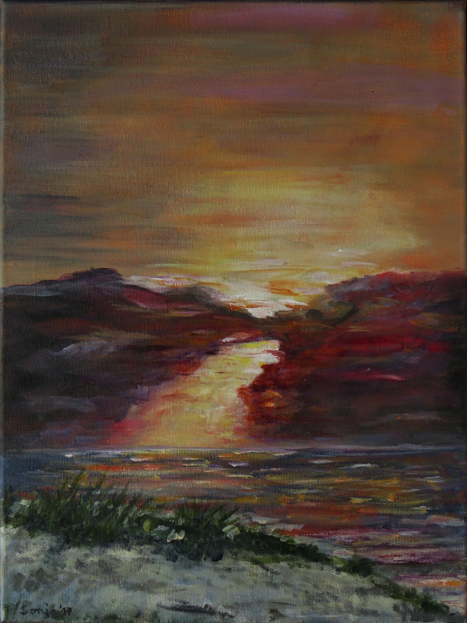 """""""Abendstimmung am Strand von Groede"""", Acryl auf Leinwand, 30 x 40 cm"""