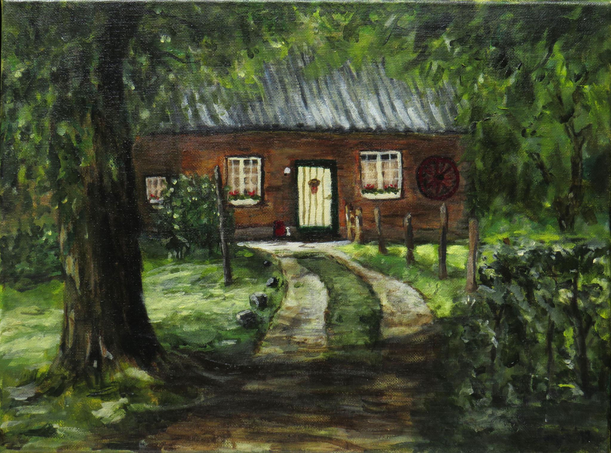"""""""Haus im Diersfordter Wald"""", Acryl auf Leinwand, 30 x 40 cm"""