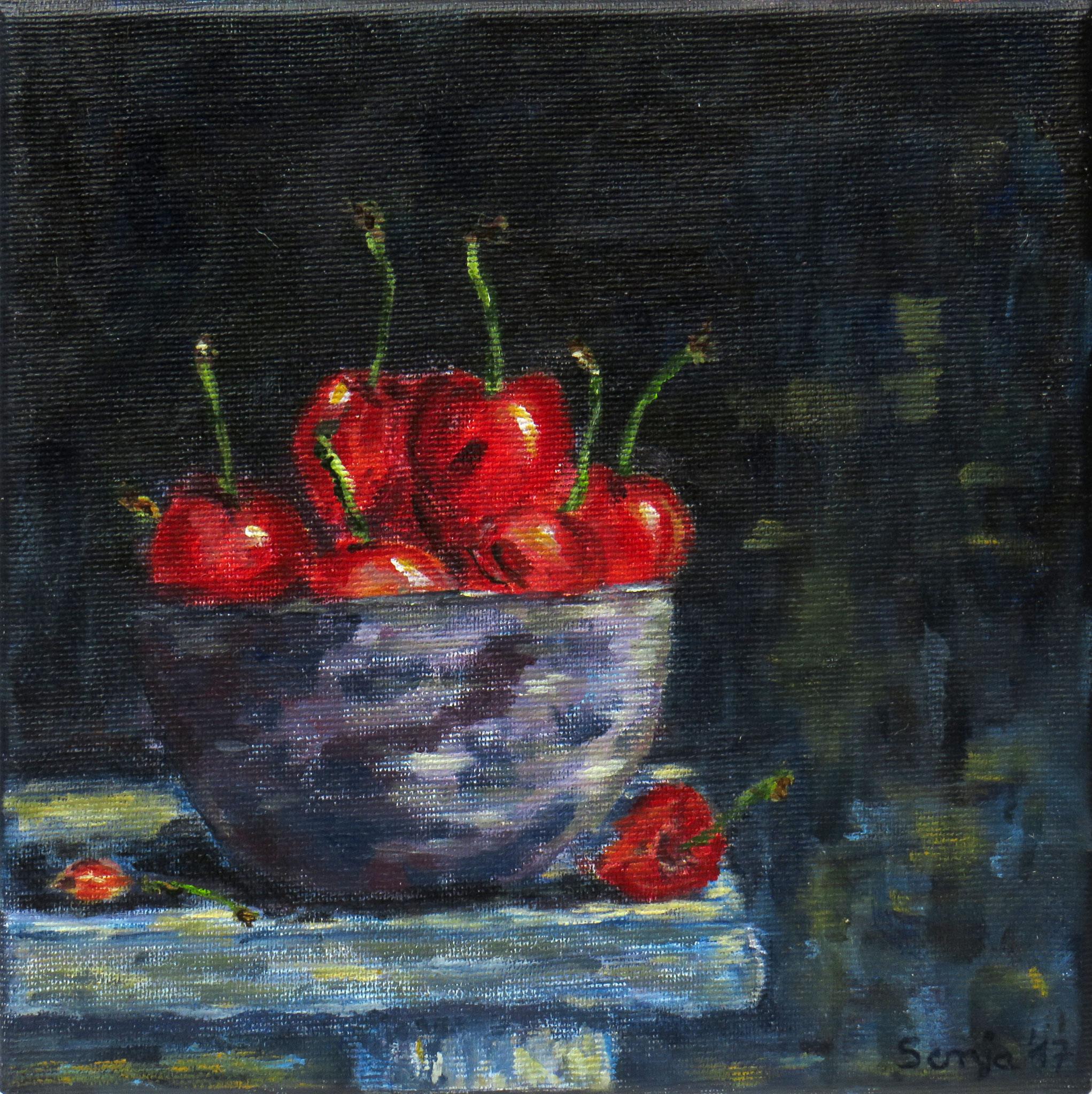 """""""Schattenmorellen"""", Acryl auf Leinwand, 20 x 20 cm"""