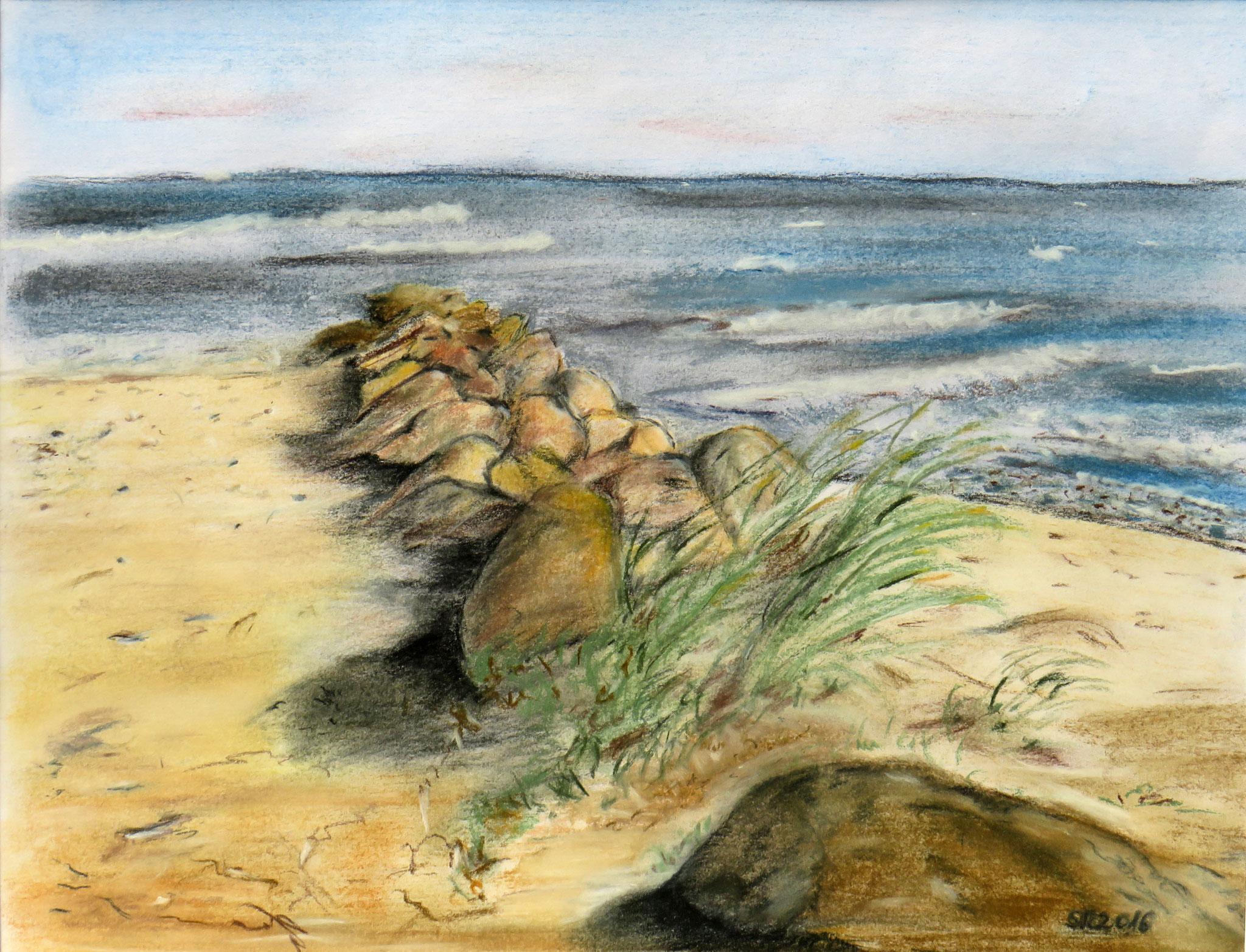 """""""Strand bei Grömitz"""", Pastellkreide auf Karton, 33 x 25 cm"""