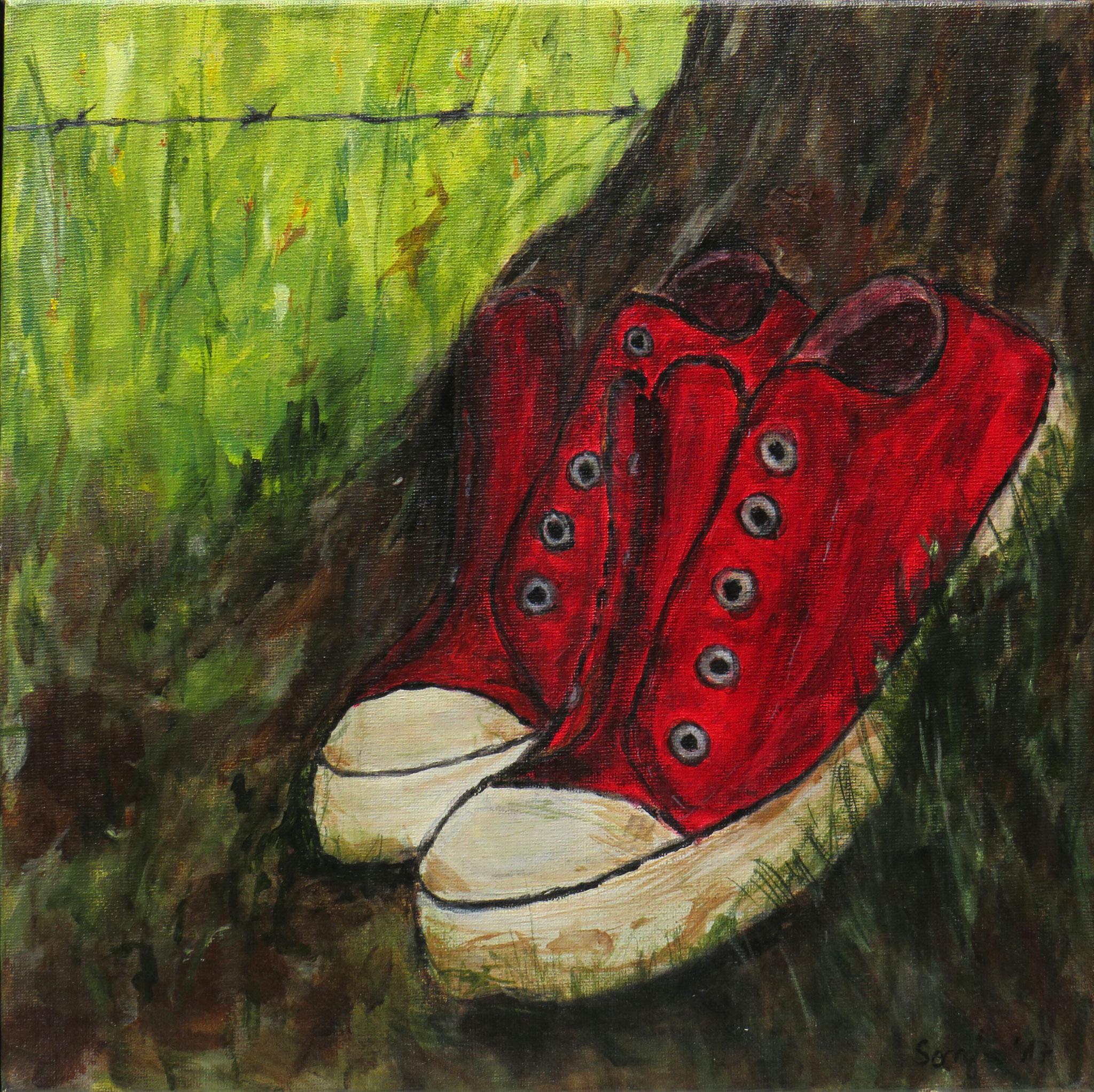"""""""Die roten Schuhe"""", Acryl auf Leinwand, 30 x 30 cm"""