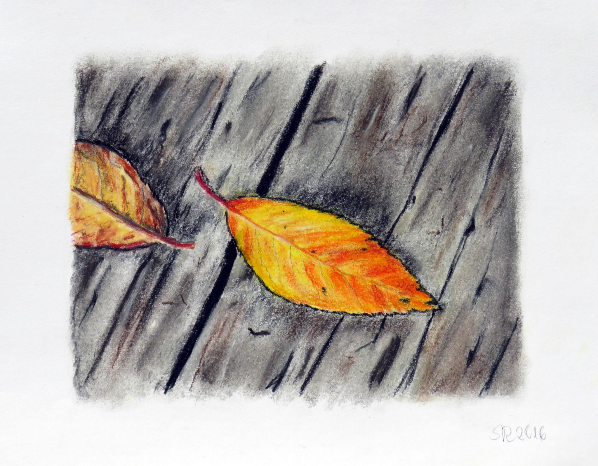 """""""Herbstgold"""", Pastellkreide auf Karton, 18 x 24 cm"""