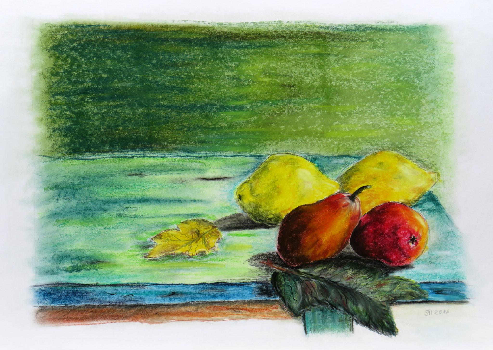 """""""Obst Stillleben"""", Pastellkreide auf Karton, 40 x 55 cm"""