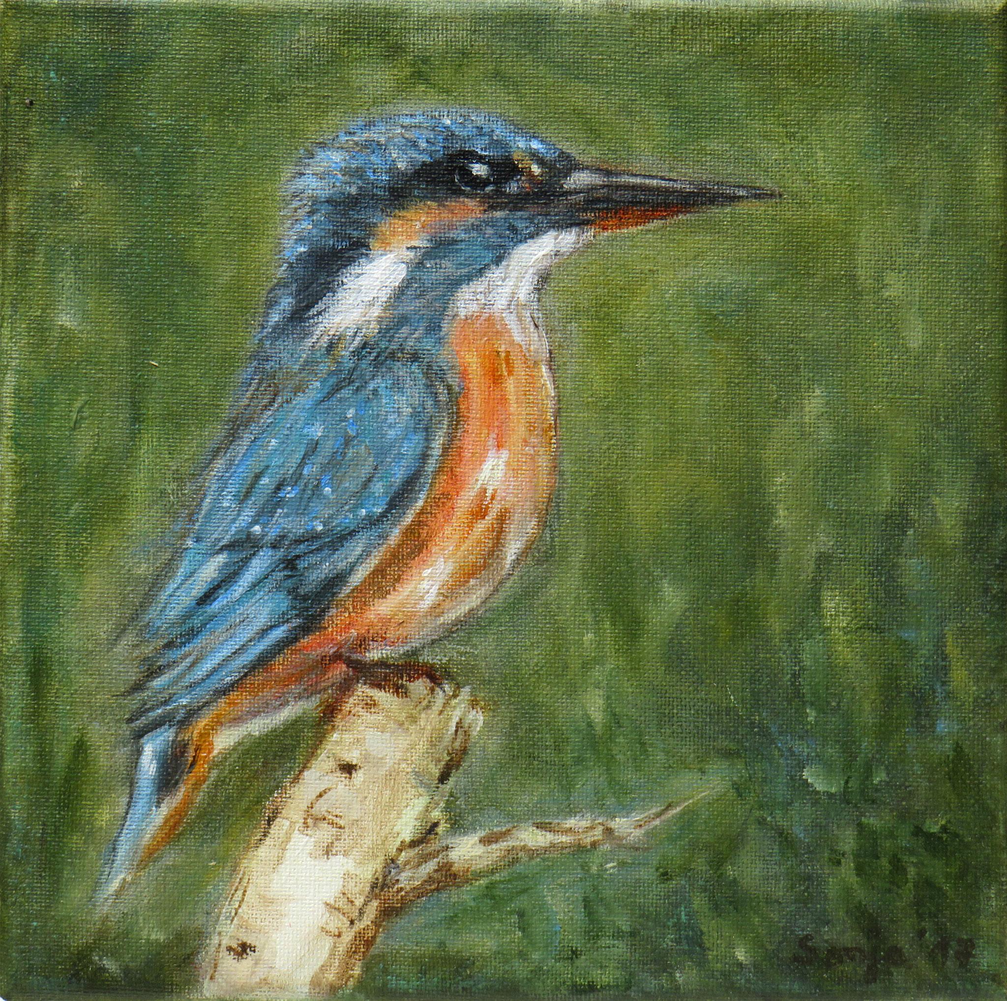 """""""Eisvogel"""", Acryl auf Leinwand, 20 x 20 cm"""