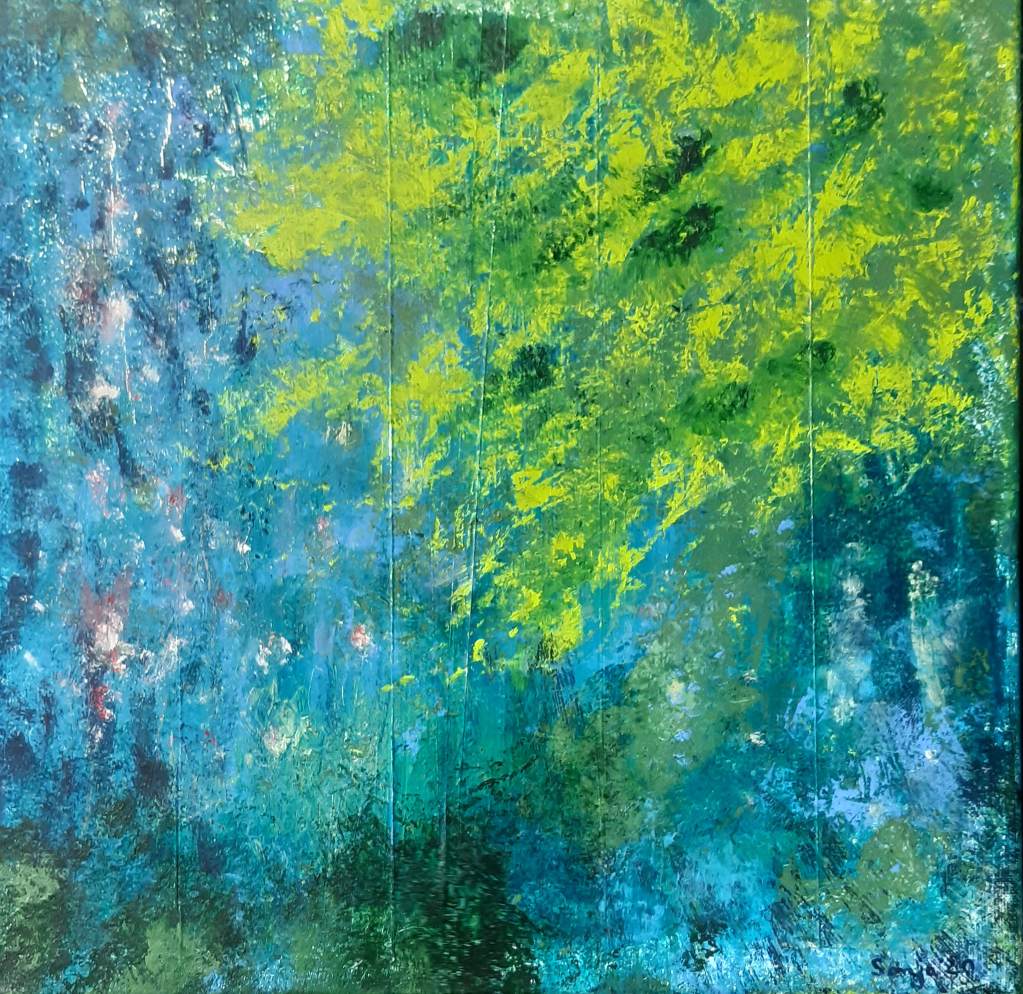 """""""Frühling am Wasser"""", Acryl auf Leinwand und Goldfolie, 40 x 40 cm"""