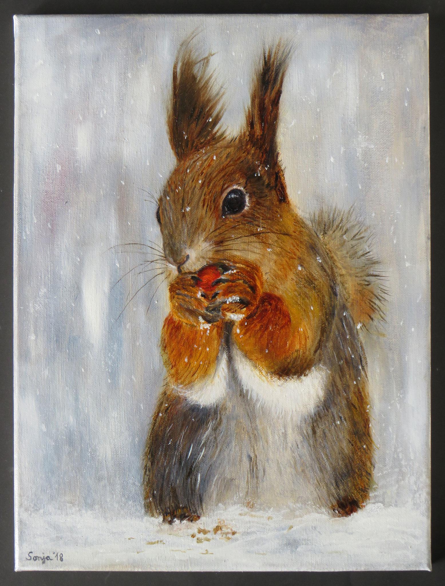 """Hörnchen"", Öl auf Leinwand, 30 x 40 cm"