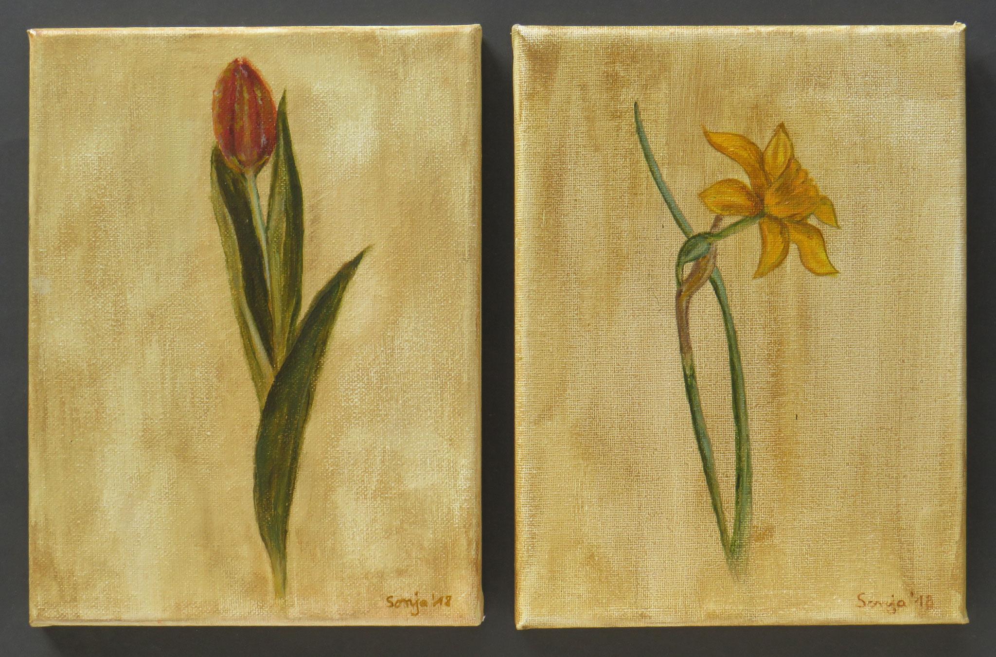 """Tulpe und Narzisse"", Acryl auf Leinwand, jeweils 18 x 24 cm"